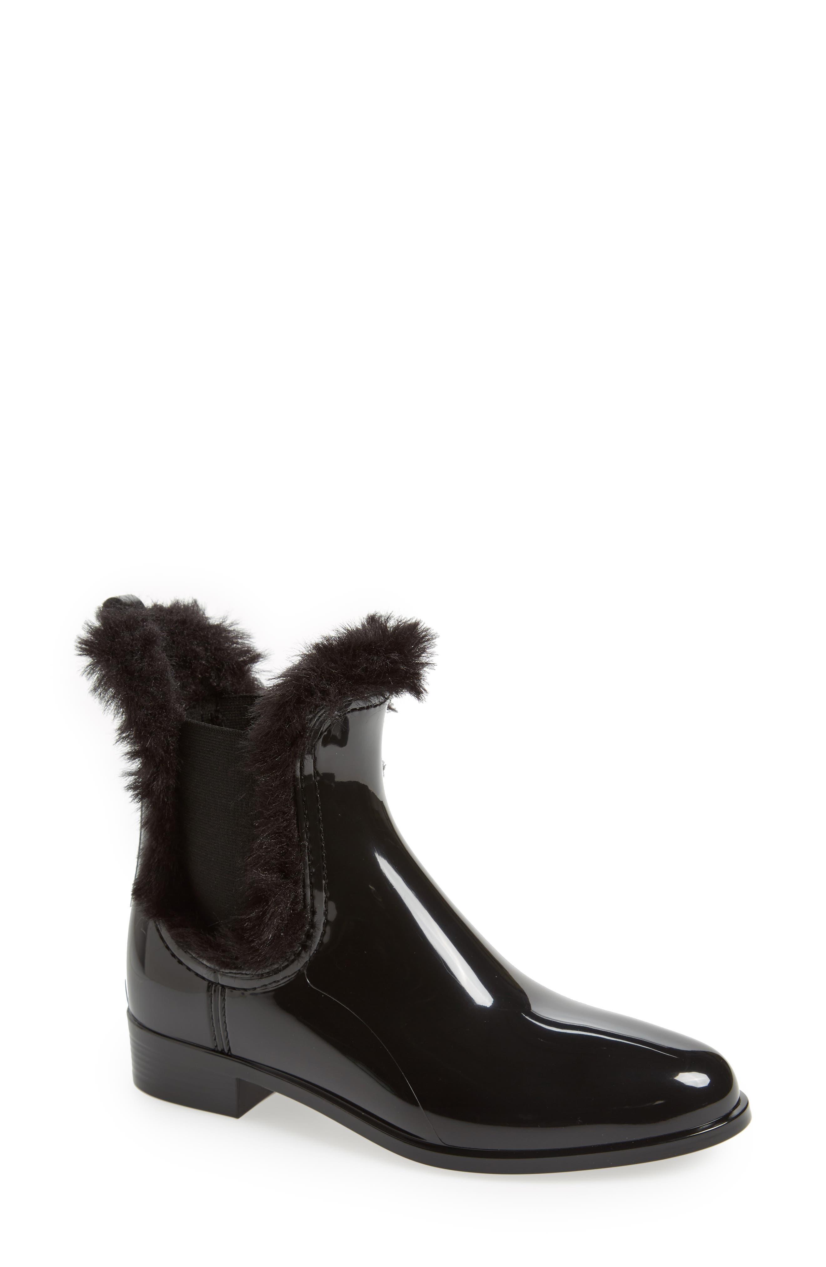 Aisha Waterproof Chelsea Boot with Faux Fur Lining,                             Main thumbnail 1, color,                             BLACK GLOSS