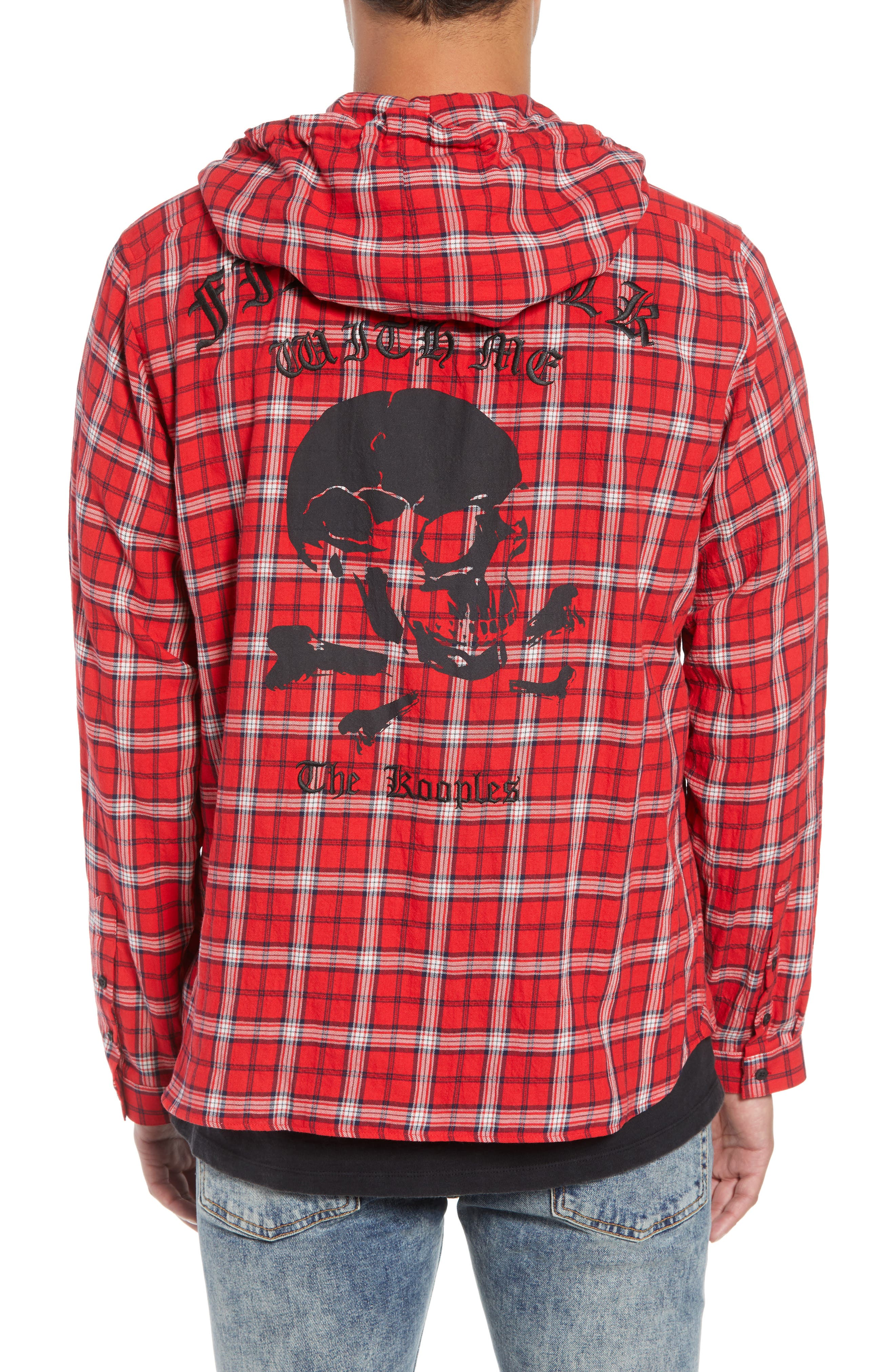 Checkered Classic Fit Hoodie Shirt Jacket,                             Alternate thumbnail 3, color,                             600