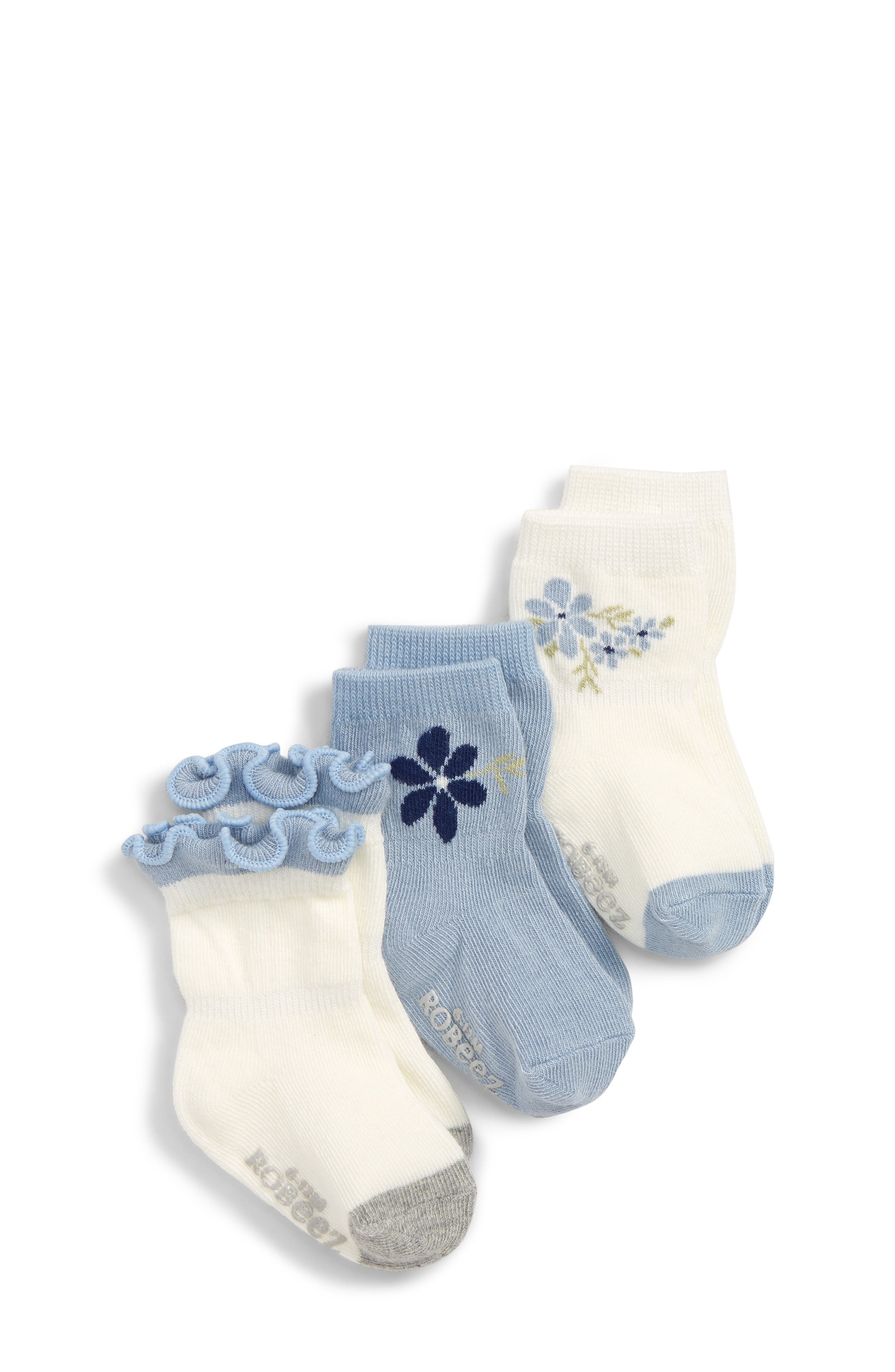 ROBEEZ<SUP>®</SUP> Pretty in Blue 3-Pack Ankle Socks, Main, color, 400