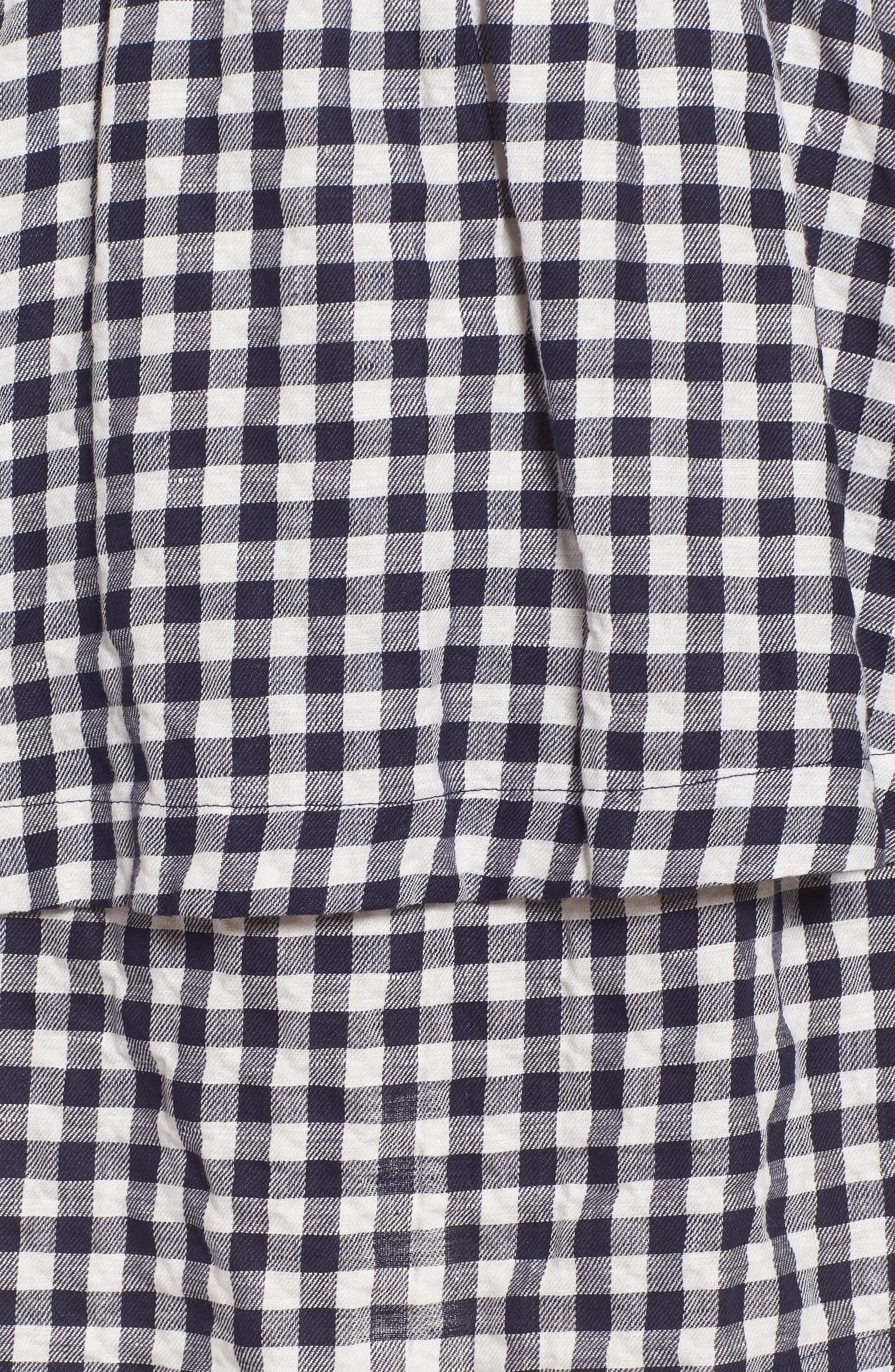 Gingham Tiered Miniskirt,                             Alternate thumbnail 5, color,                             400