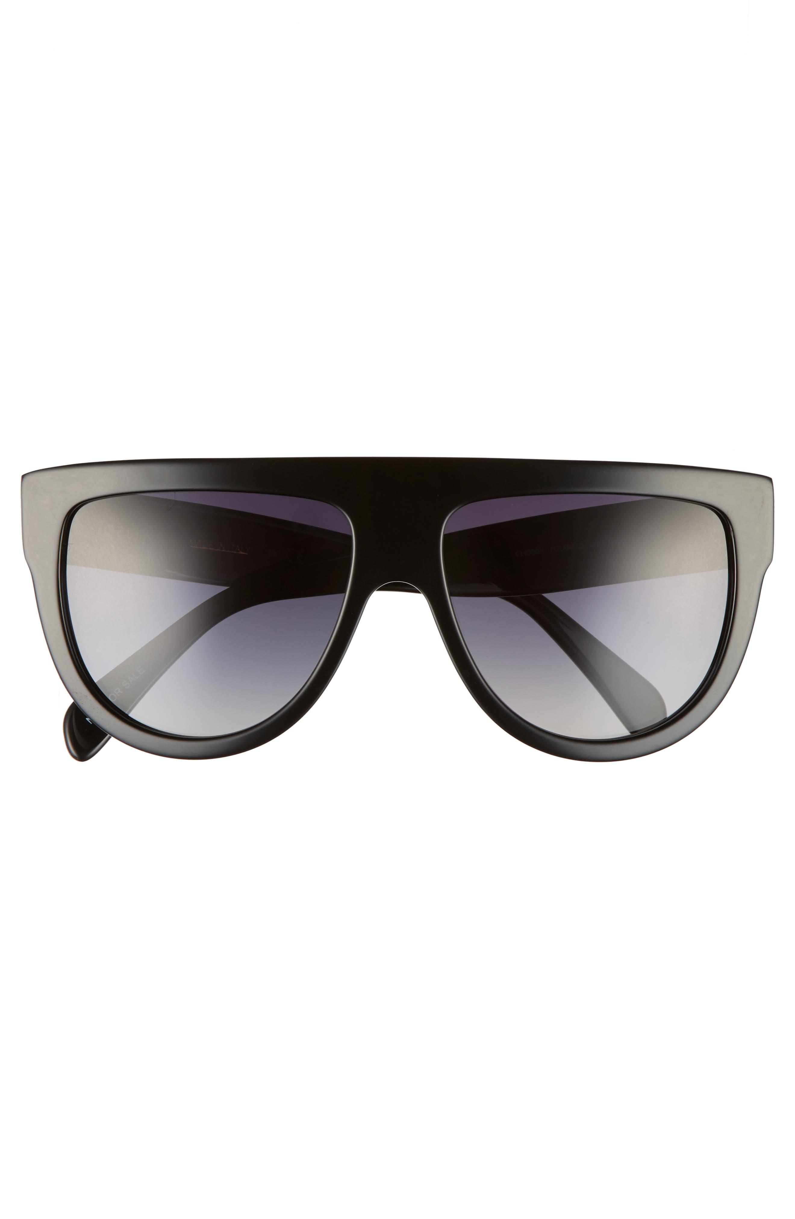 58mm Pilot Sunglasses,                             Alternate thumbnail 3, color,                             BLACK/ SMOKE