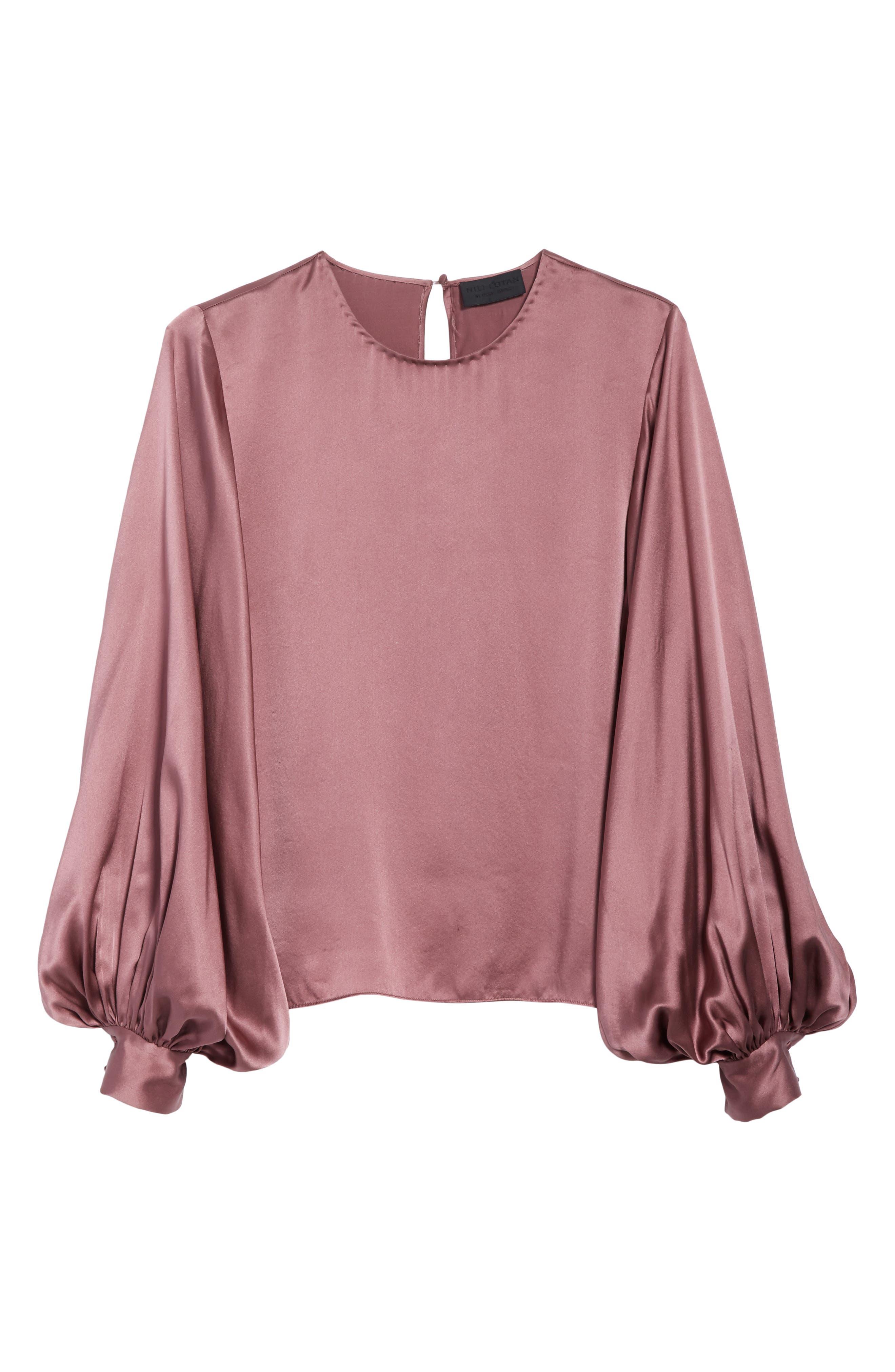 Loretta Silk Puff Sleeve Blouse,                             Alternate thumbnail 6, color,                             650