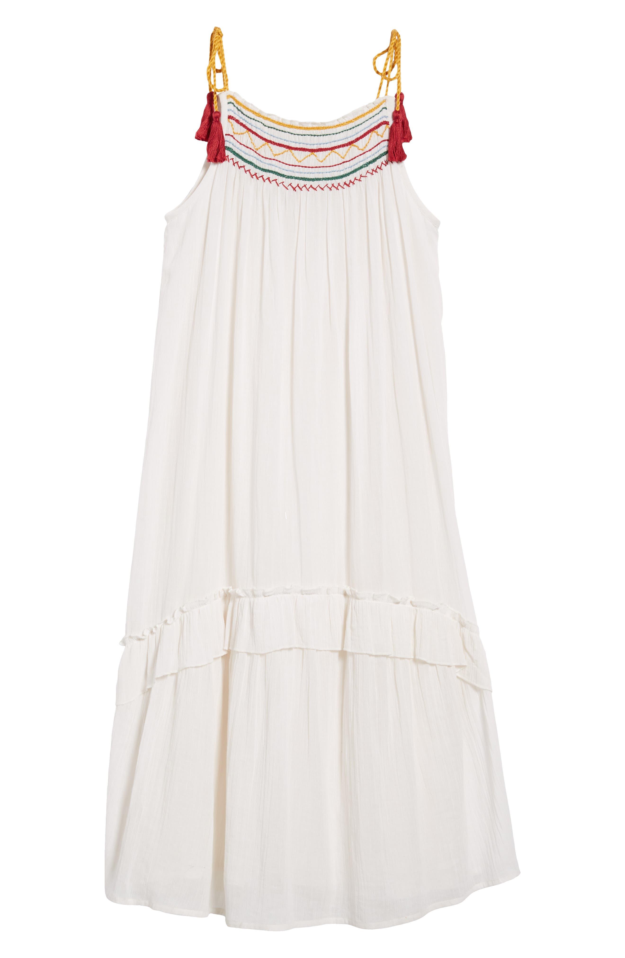 Embroidered Gauze Midi Dress,                             Alternate thumbnail 7, color,                             124