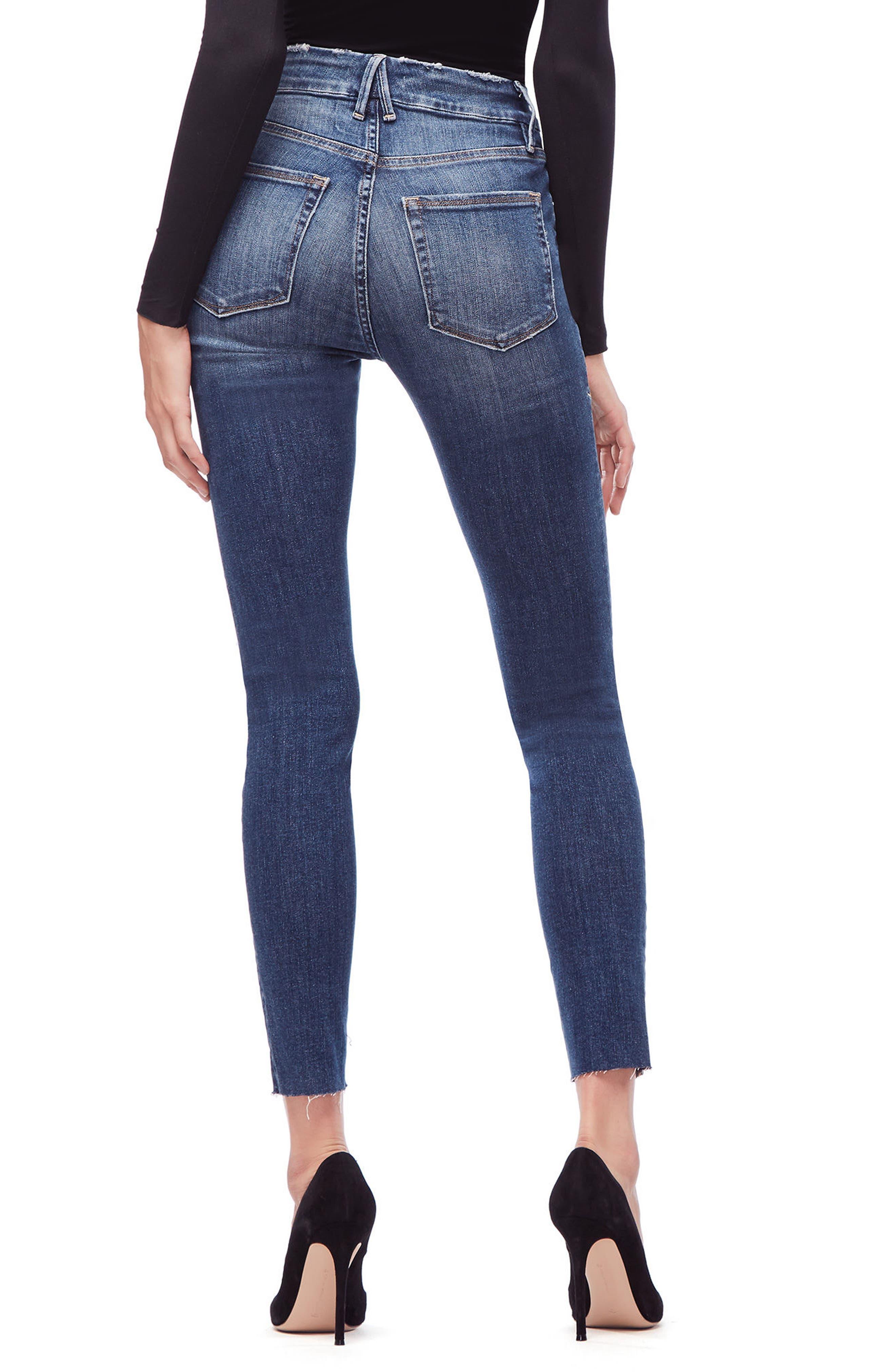 Good Legs High Waist Raw Hem Skinny Jeans,                             Alternate thumbnail 2, color,                             BLUE 182