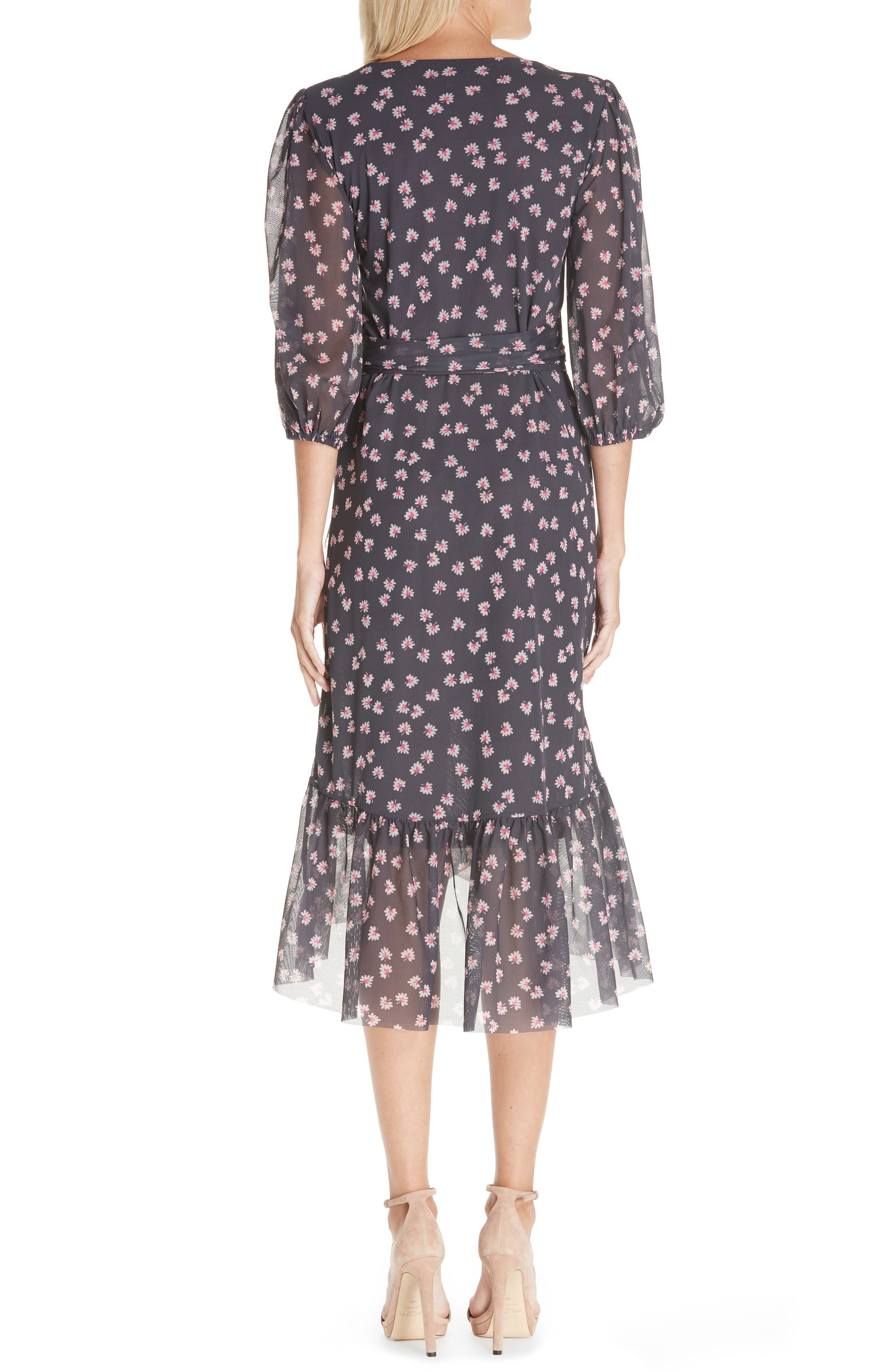 GANNI,                             Floral Print Wrap Dress,                             Alternate thumbnail 2, color,                             400