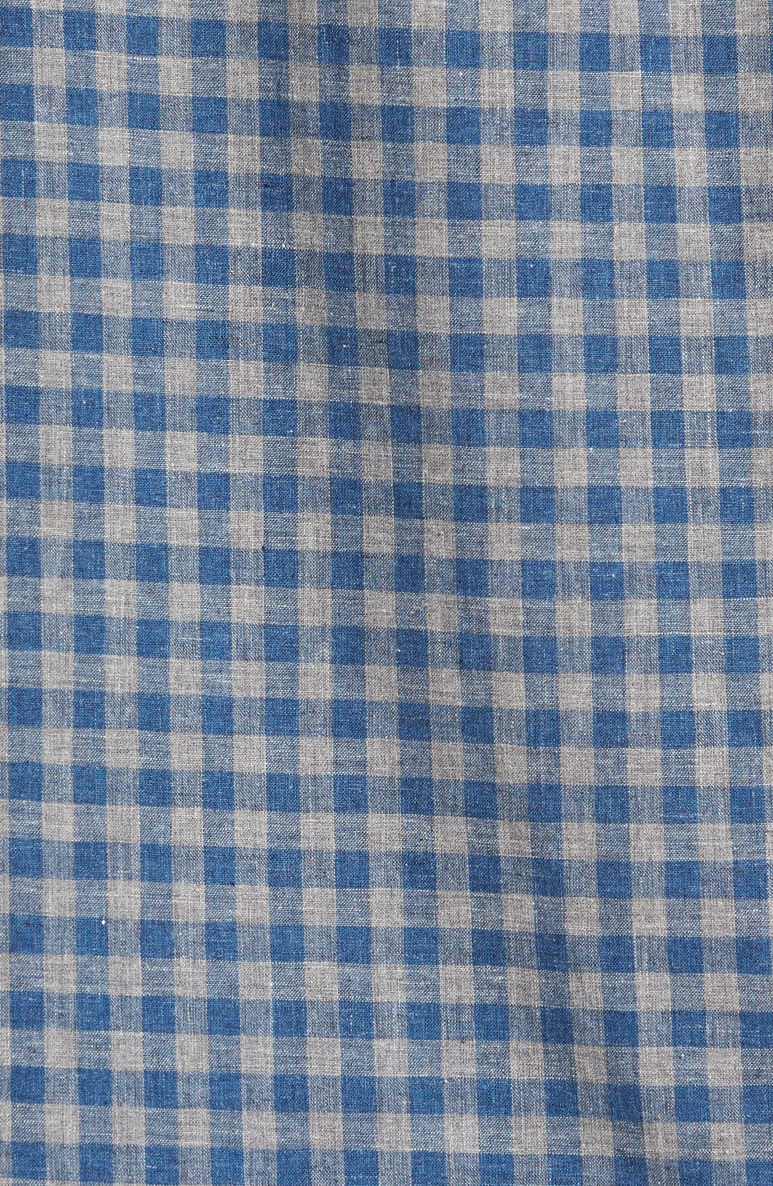 Trim Fit Heather Gingham Linen Blend Sport Shirt,                             Alternate thumbnail 5, color,                             030
