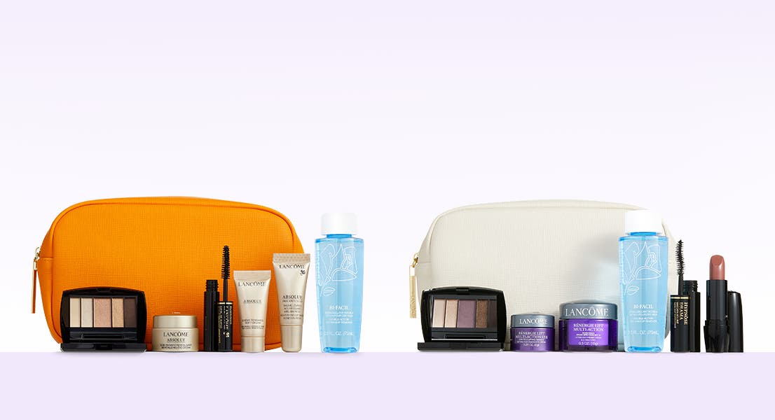 Choose your Lancôme gift with purchase. Buy more, get more gift.