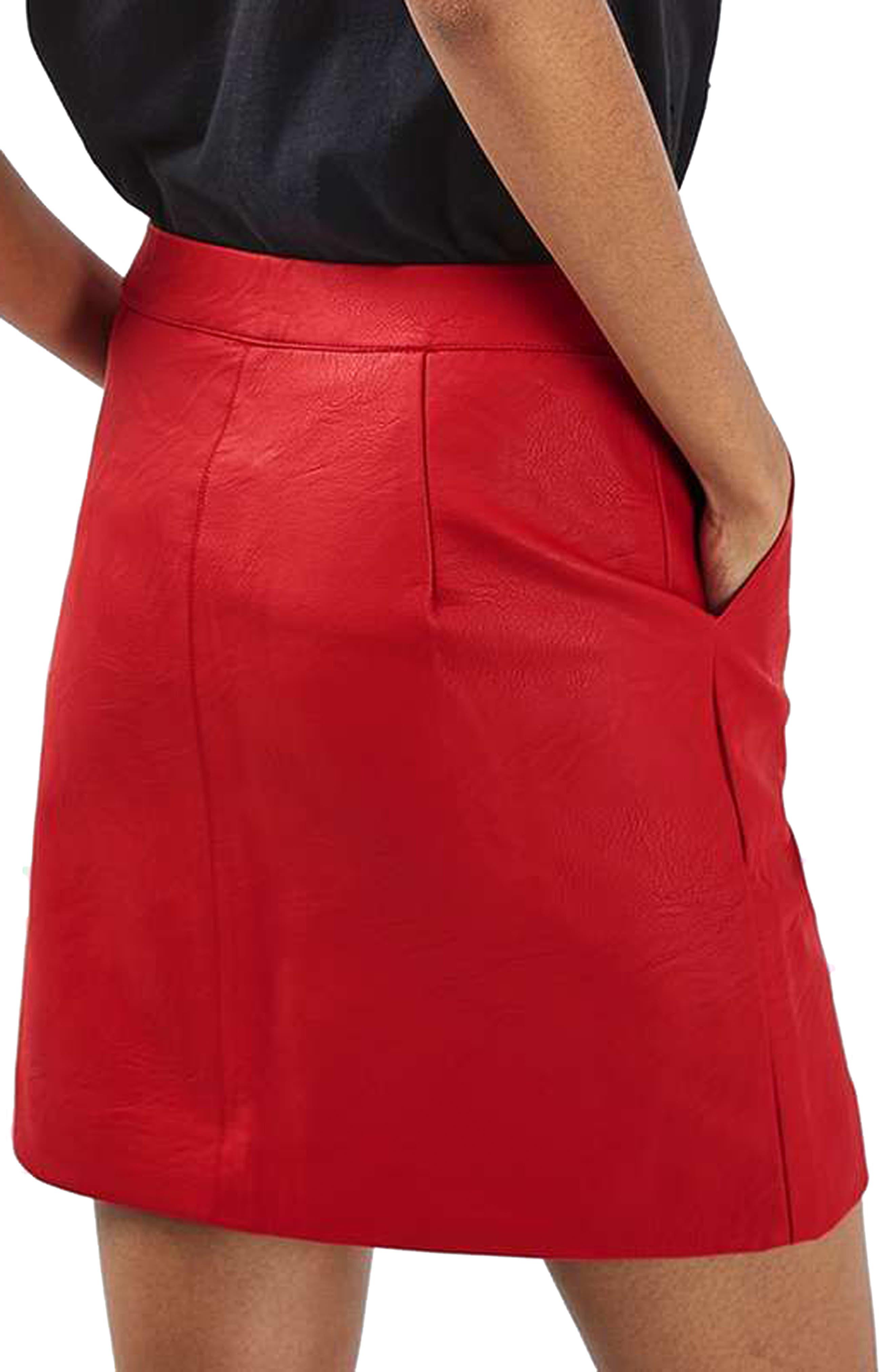 Faux Leather Pencil Skirt,                             Alternate thumbnail 7, color,