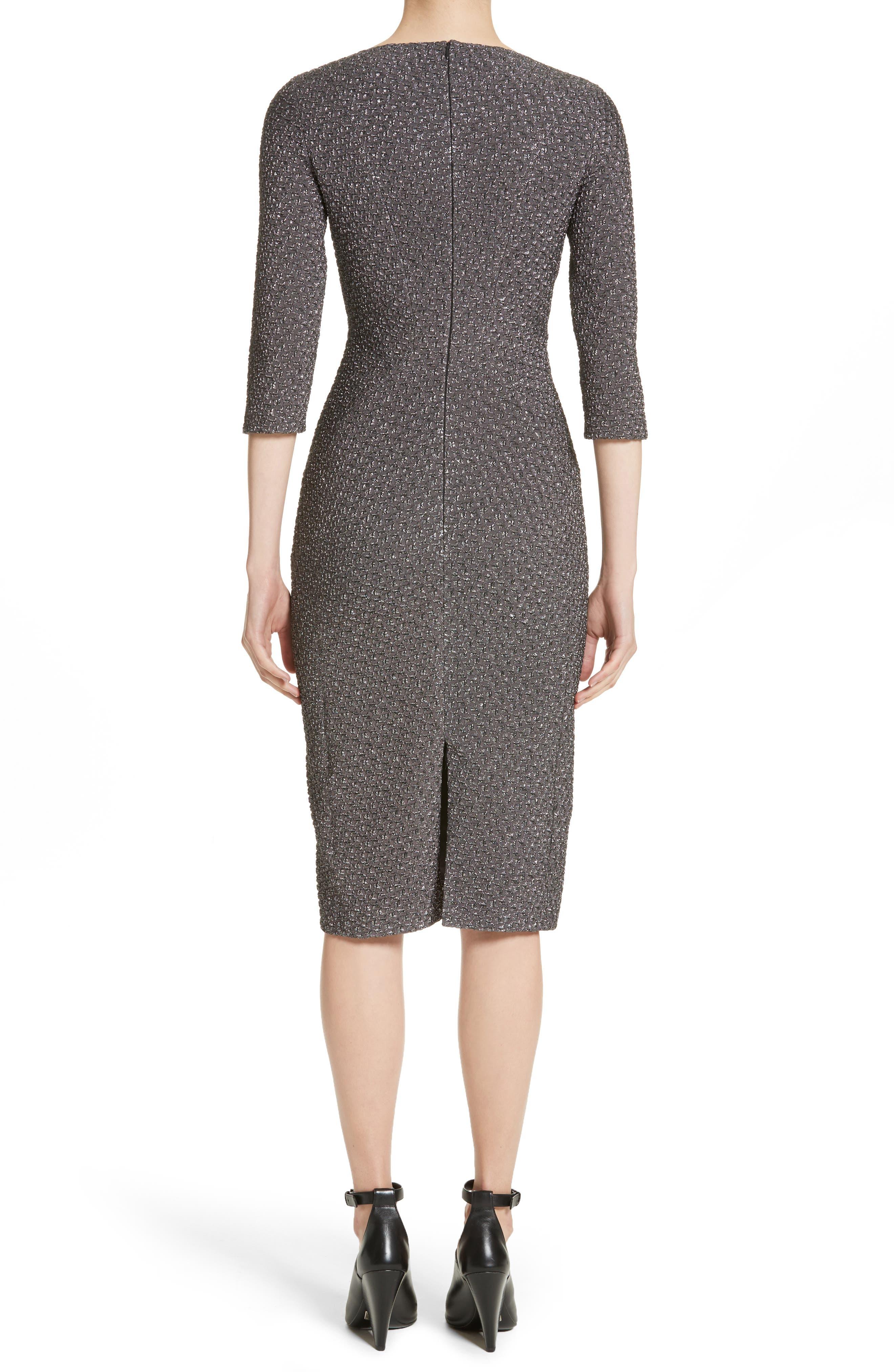 Houndstooth Stretch Metallic Jacquard Sheath Dress,                             Alternate thumbnail 2, color,                             029