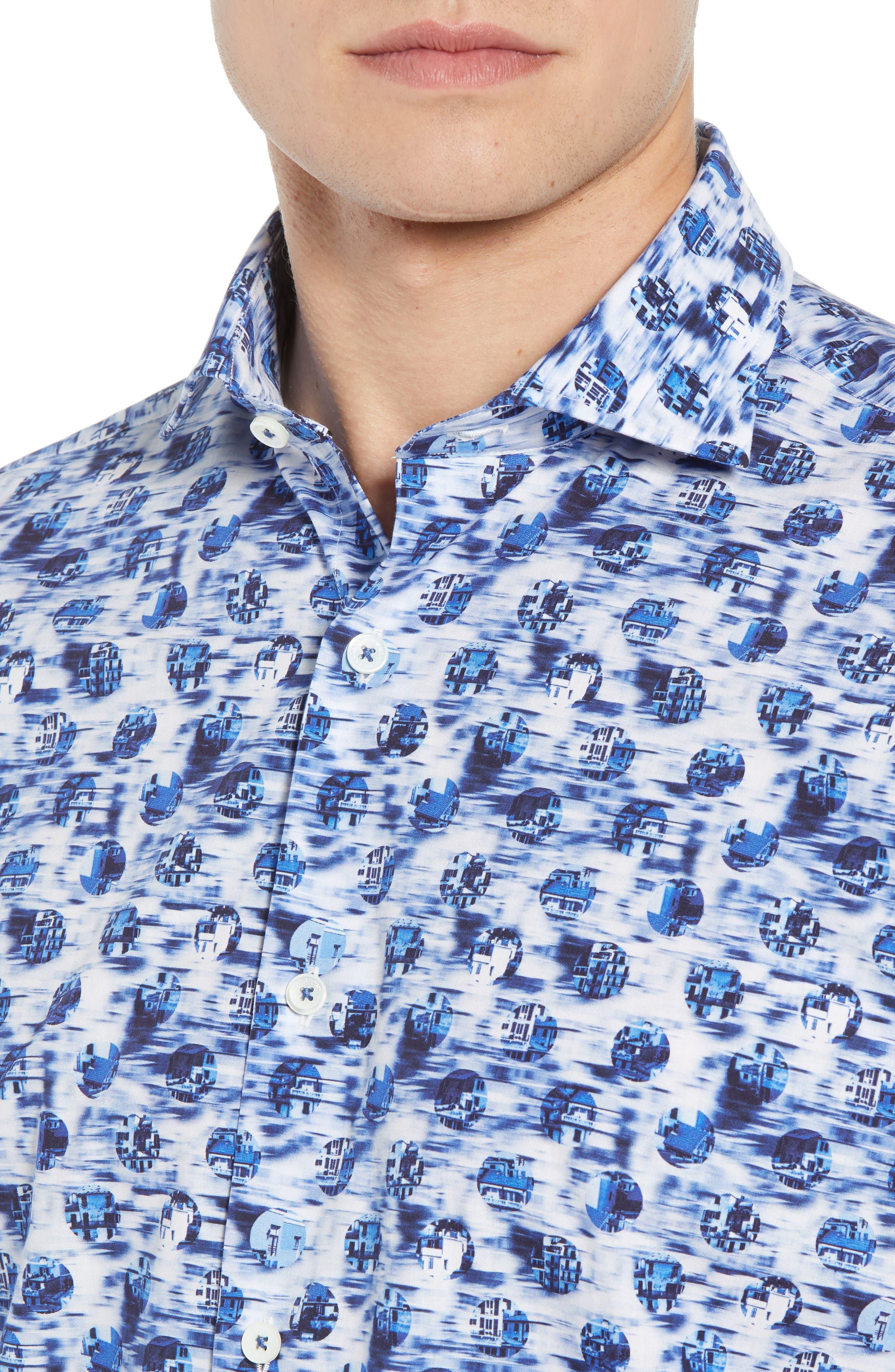 BUGATCHI,                             Classic Fit Print Sport Shirt,                             Alternate thumbnail 2, color,                             DUSTY BLUE