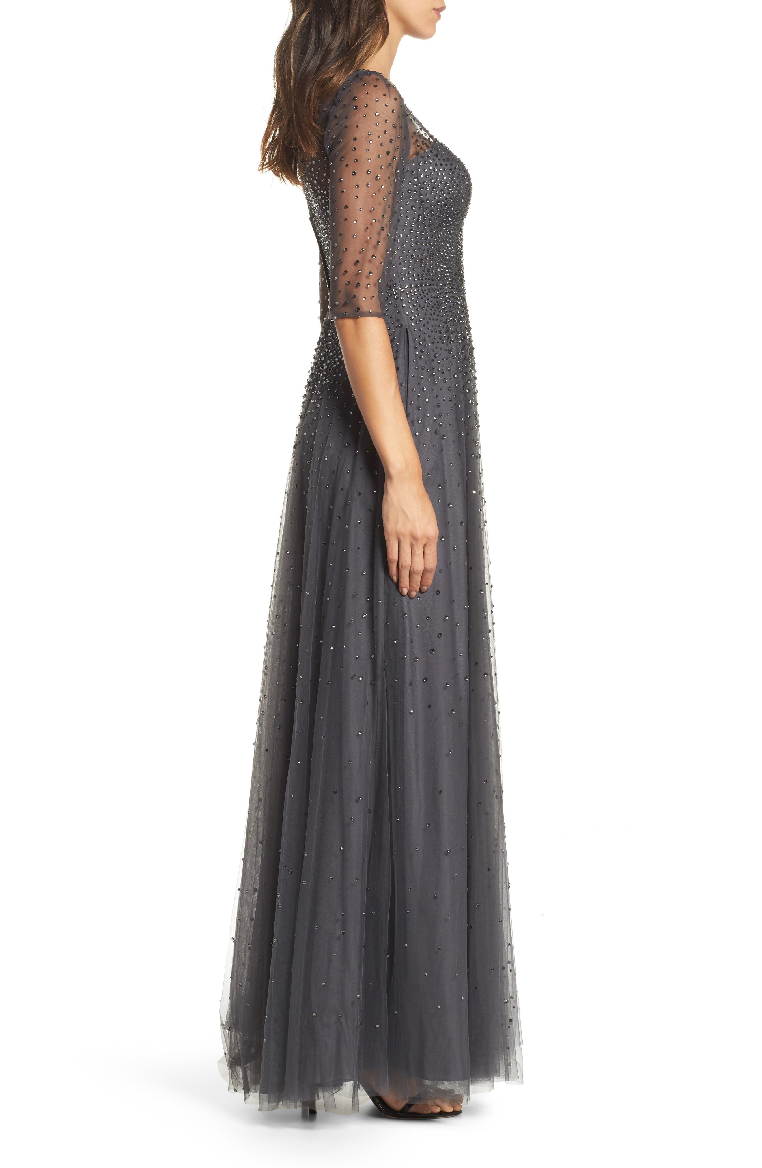 Waterfall Embellished Gown,                             Alternate thumbnail 3, color,                             GUNMETAL