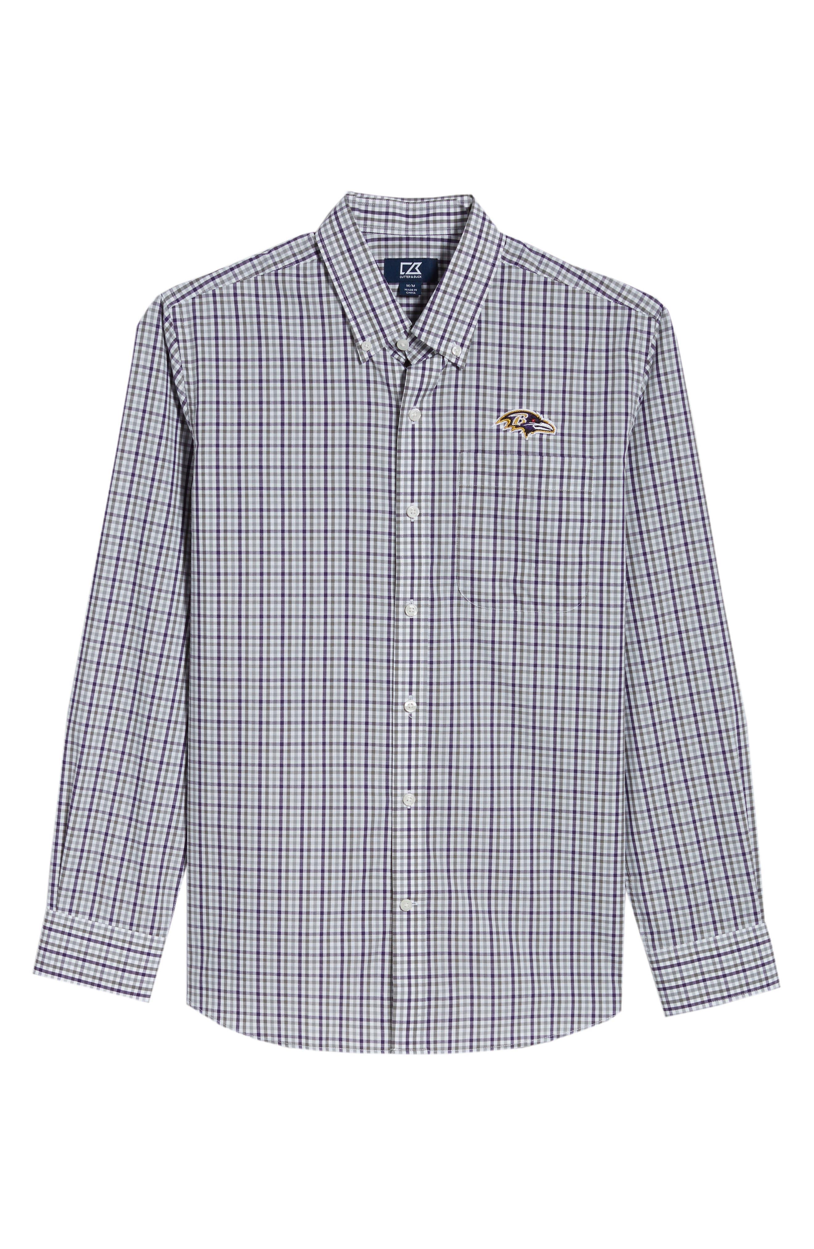 Baltimore Ravens - Gilman Regular Fit Plaid Sport Shirt,                             Alternate thumbnail 6, color,                             541