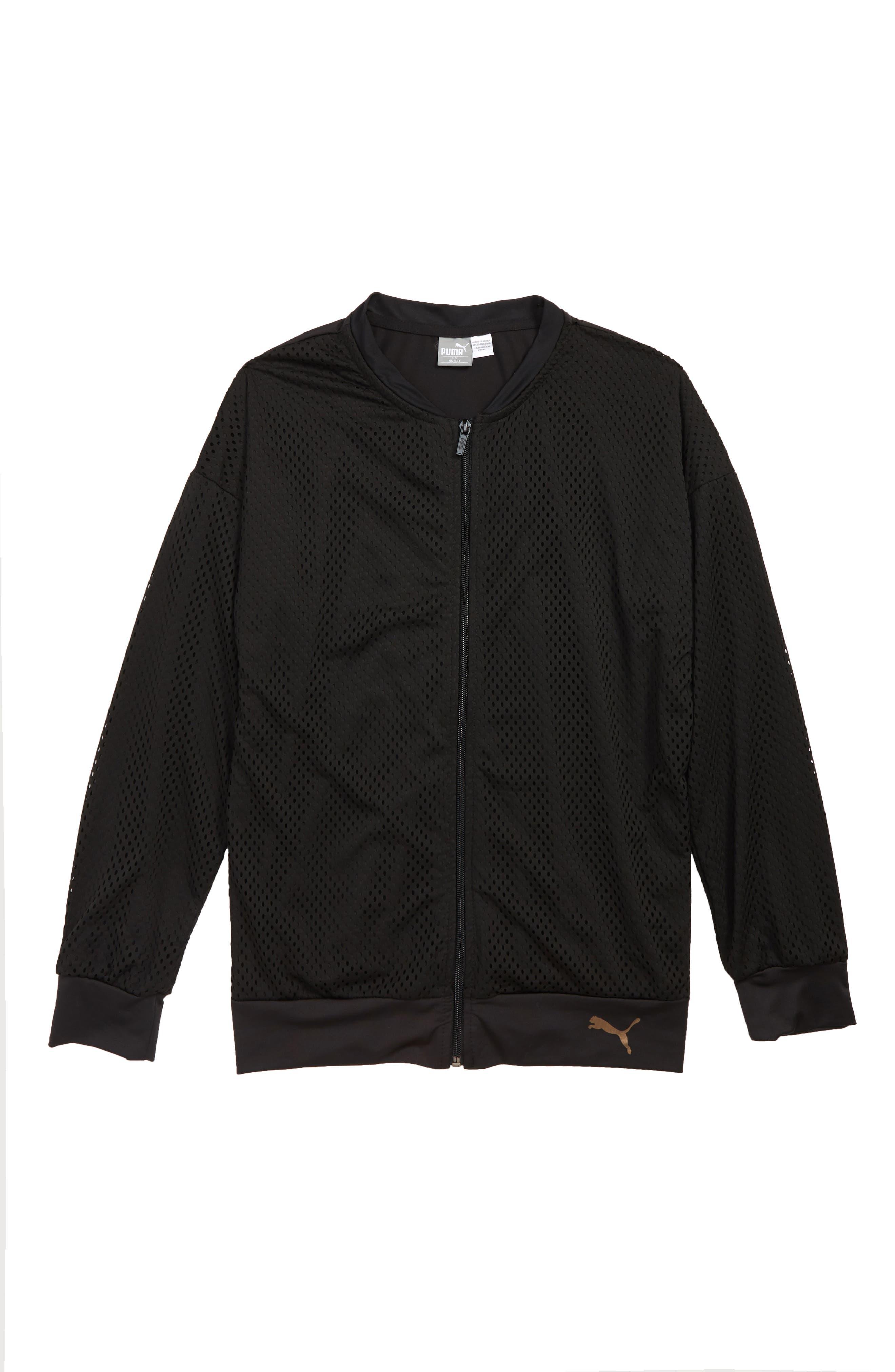 Mesh Bomber Jacket,                         Main,                         color, PUMA BLACK