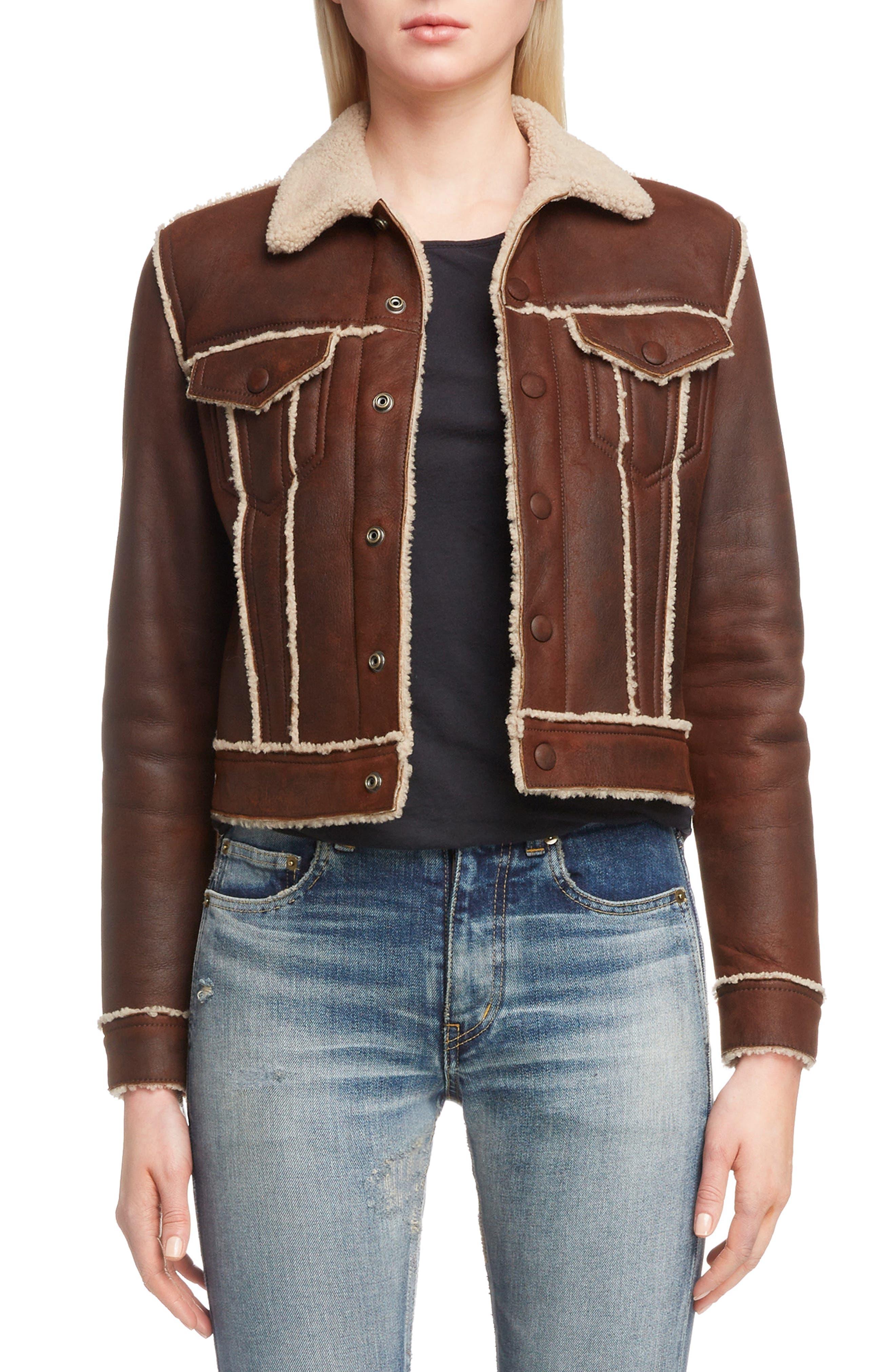 Saint Laurent Genuine Shearling Trucker Jacket, Brown