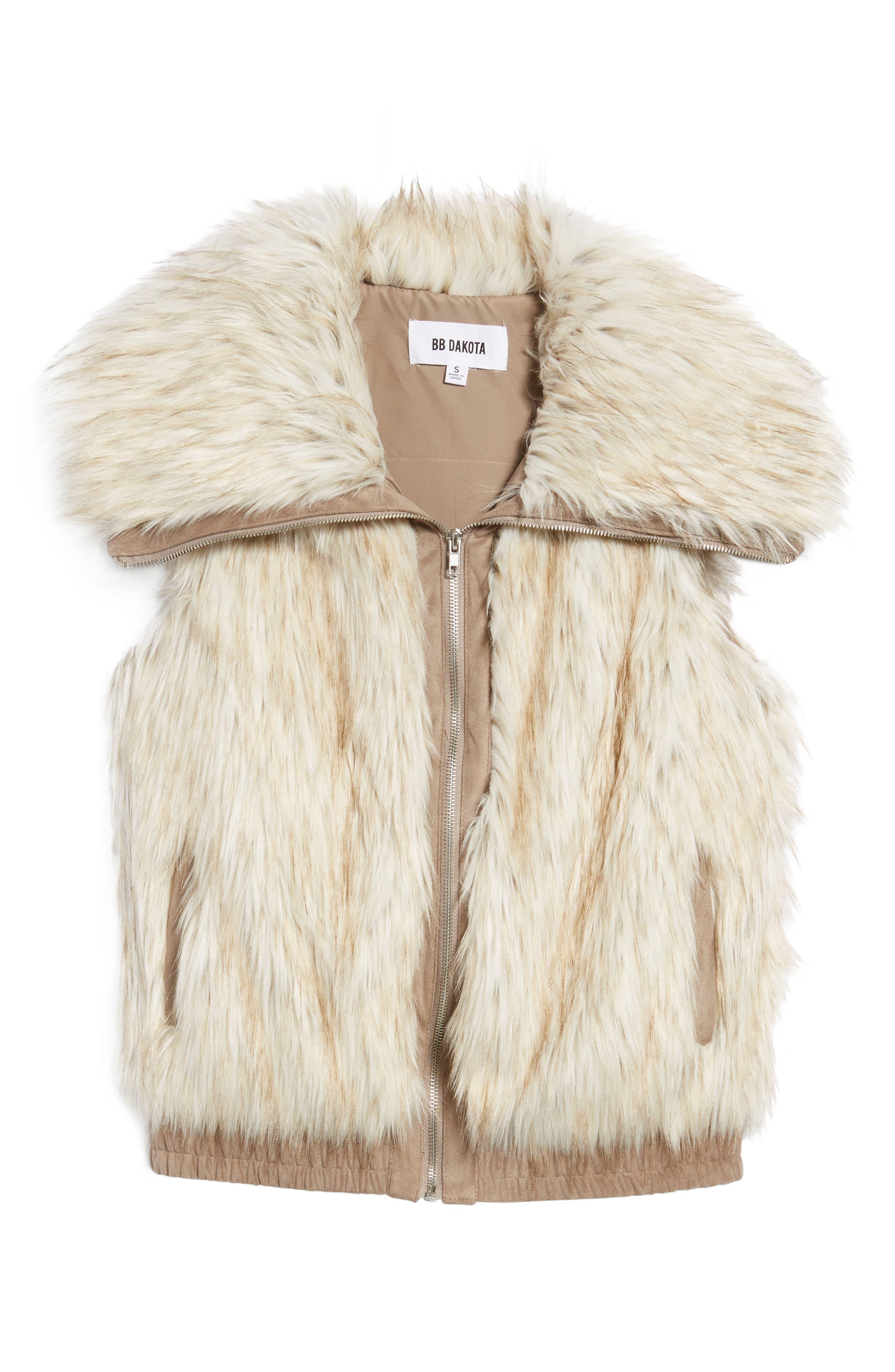 Collared Faux Fur Vest,                             Alternate thumbnail 5, color,                             161