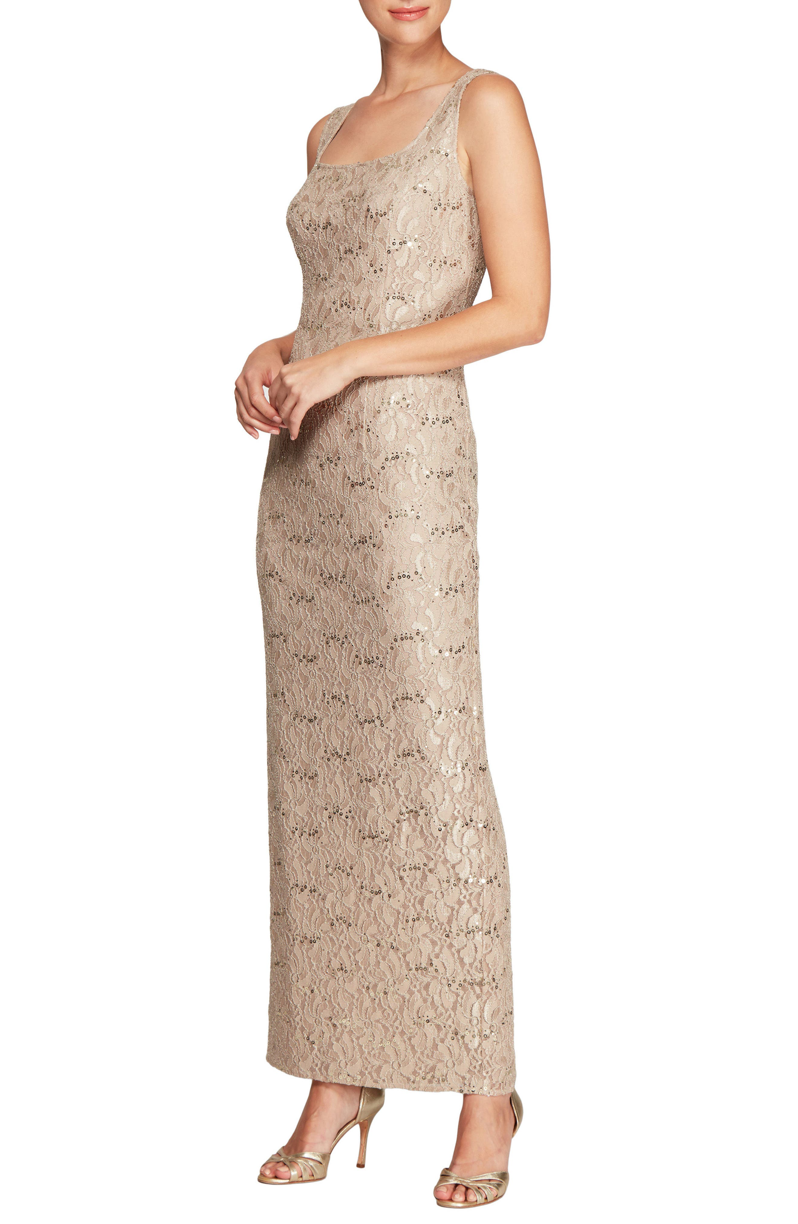 Lace Column Gown with Jacket,                             Alternate thumbnail 3, color,                             251