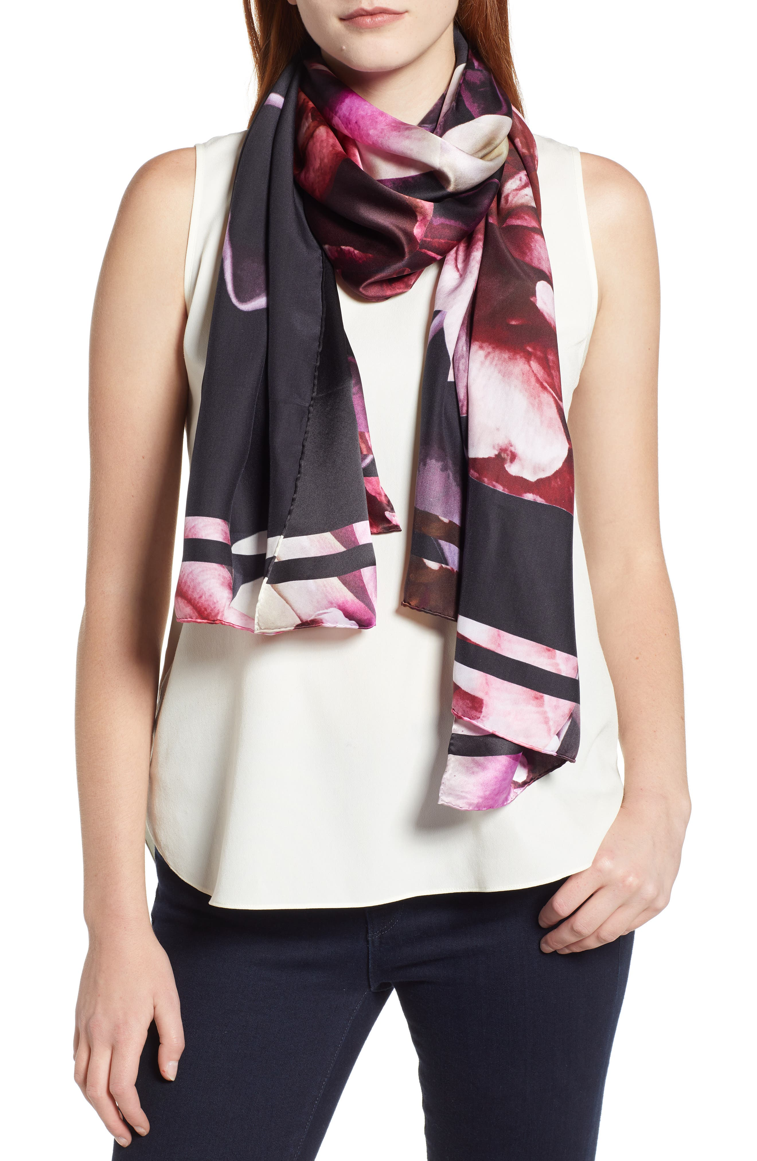 Splendour Silk Scarf,                         Main,                         color, BLACK