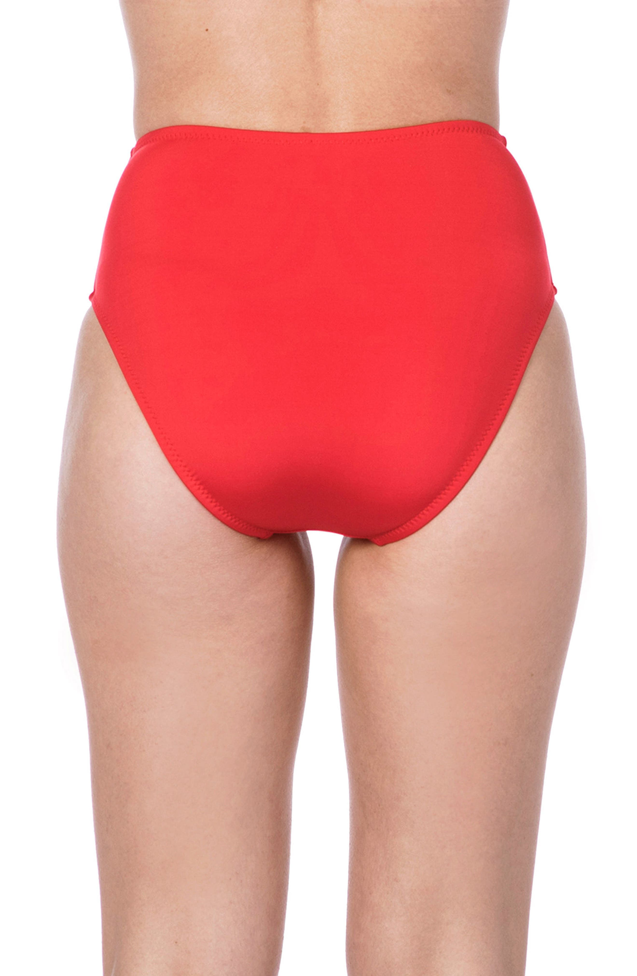 Getaway High Waist Bikini Bottoms,                             Alternate thumbnail 2, color,                             RED