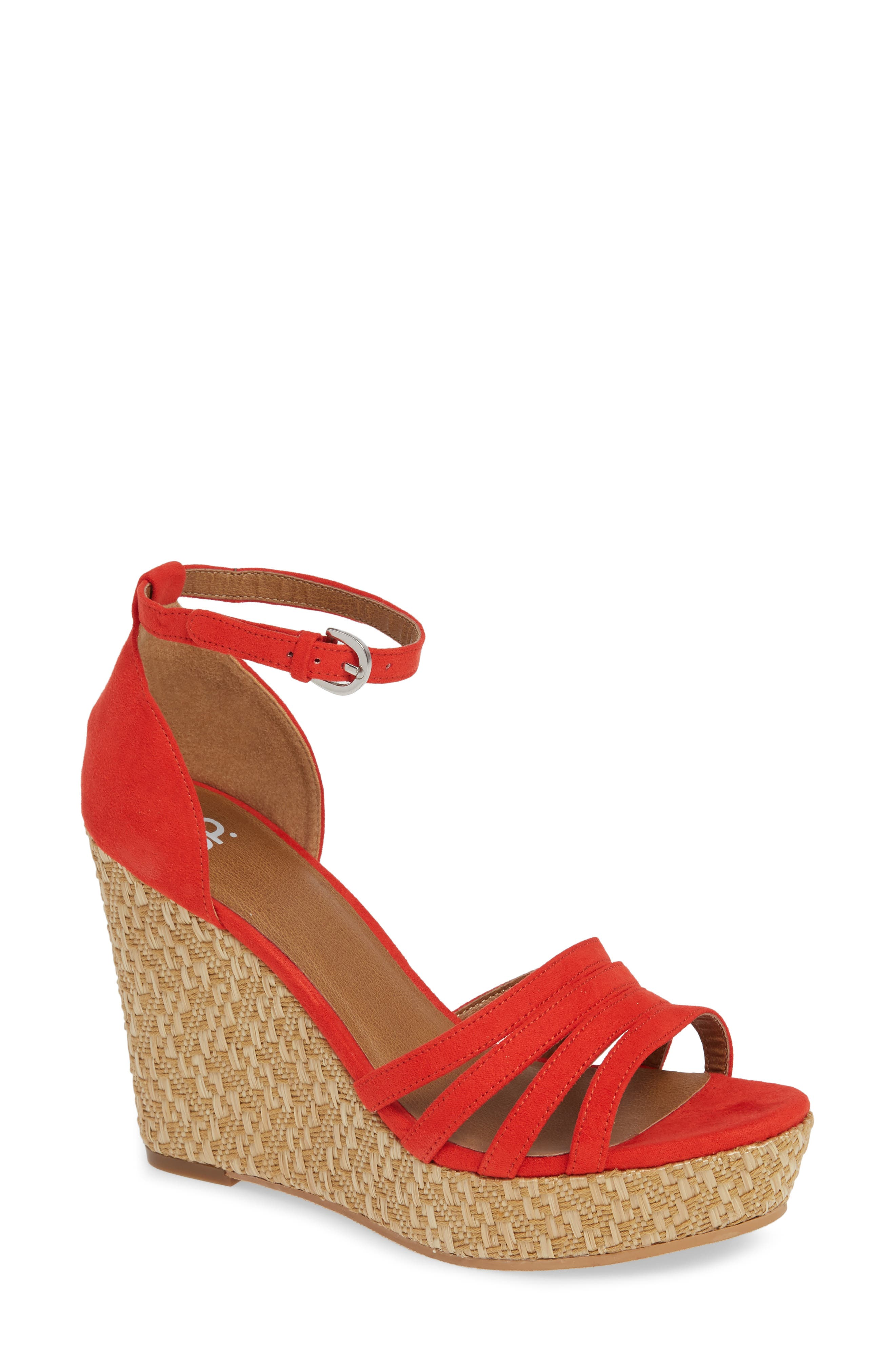 Scarlette Wedge Sandal,                             Main thumbnail 1, color,                             RED FAUX SUEDE