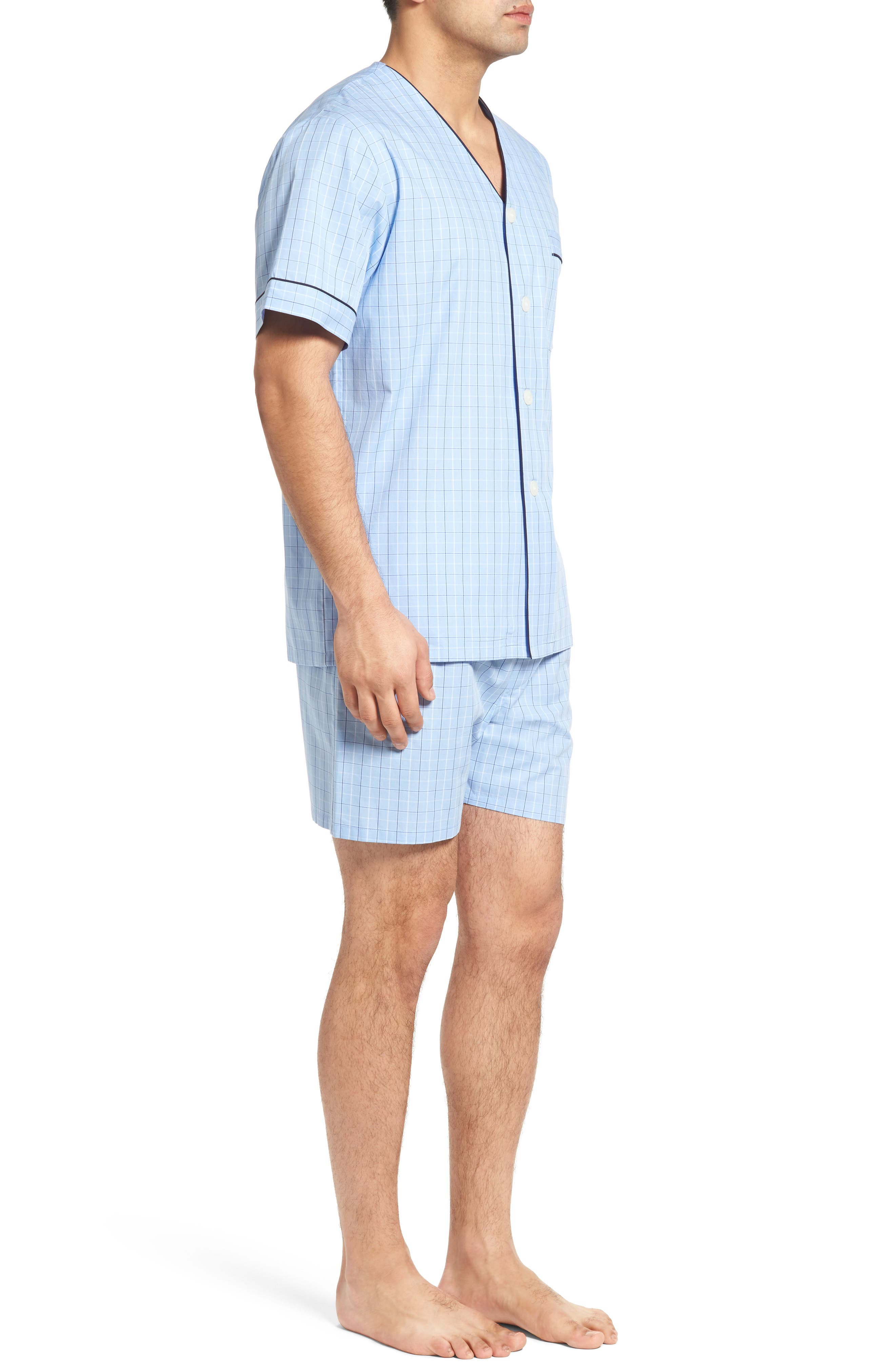Cotton Short Pajamas,                             Alternate thumbnail 3, color,                             LIGHT BLUE CHECK