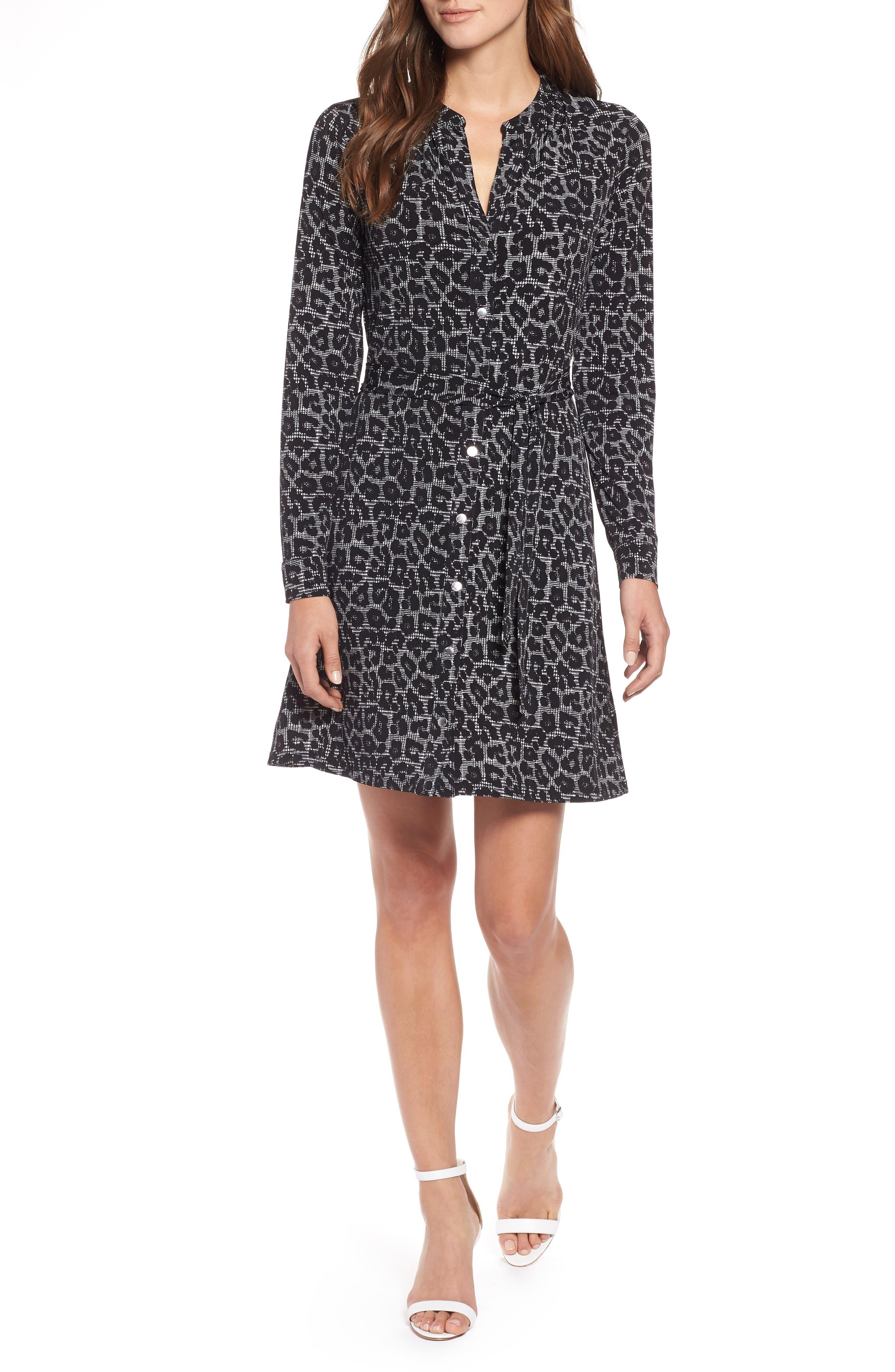 MICHAEL Michael Kors Leopard Plaid Shirtdress,                         Main,                         color, 001