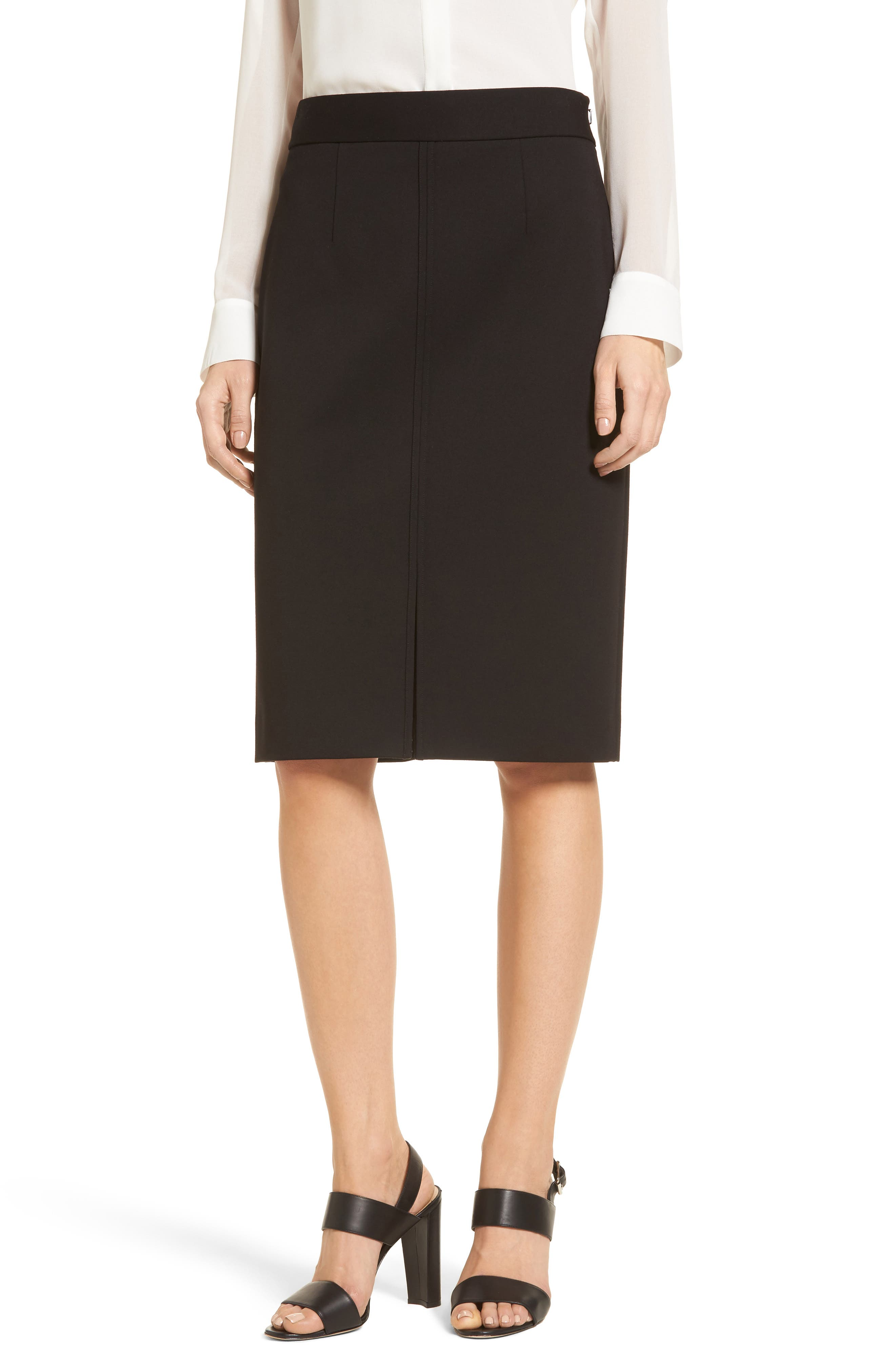 Ponte Knit Pencil Skirt,                         Main,                         color, 001