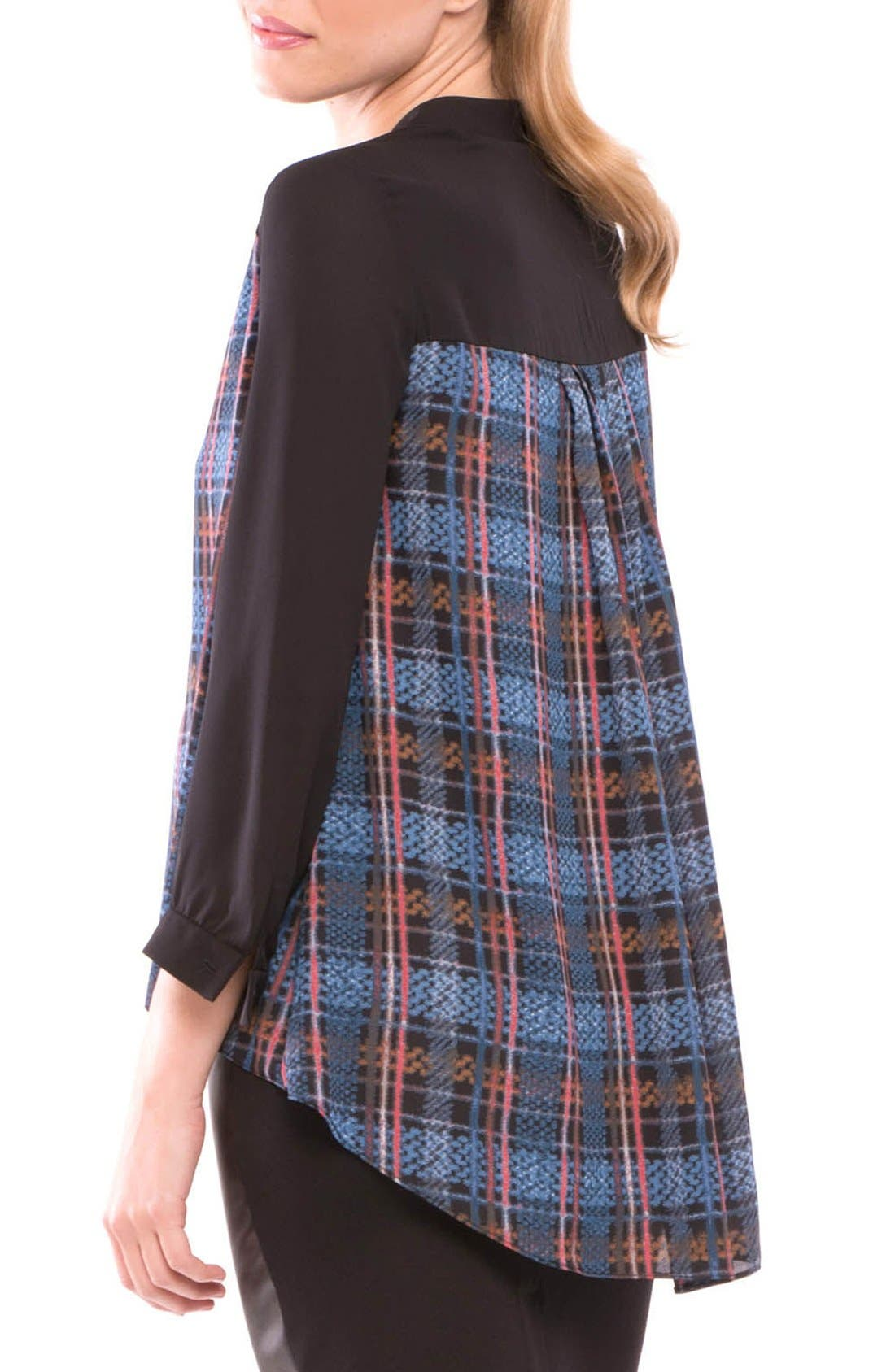 Plaid Maternity Top,                             Alternate thumbnail 2, color,                             BLACK/ BLUE
