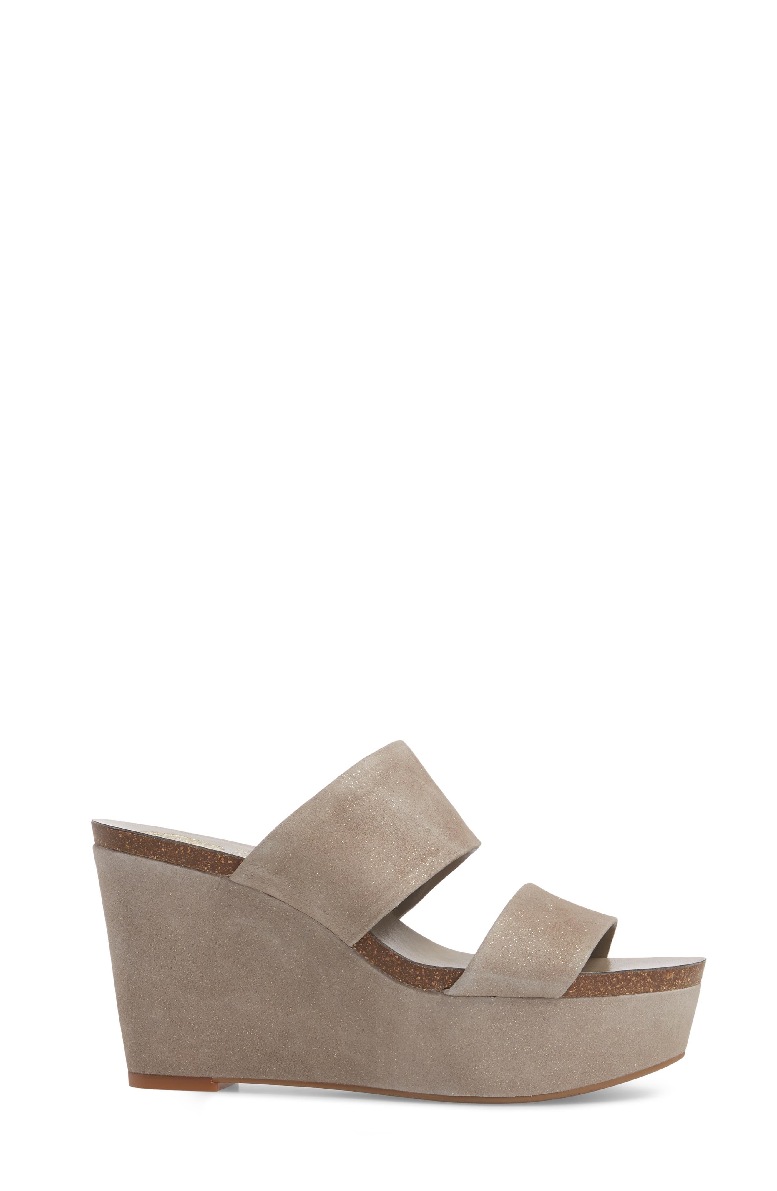 Varenia Platform Wedge Sandal,                             Alternate thumbnail 3, color,                             SILVER GREY FABRIC