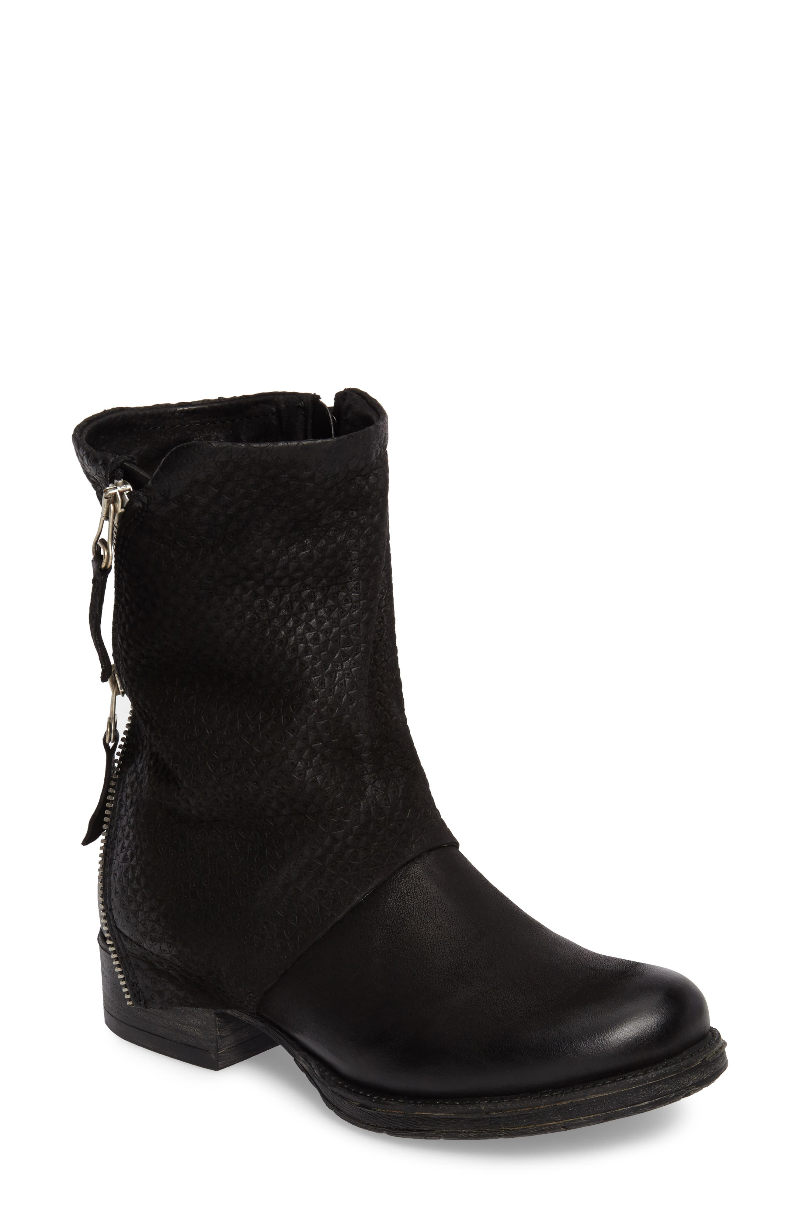 Nugget Asymmetrical Textured Boot,                         Main,                         color, 001