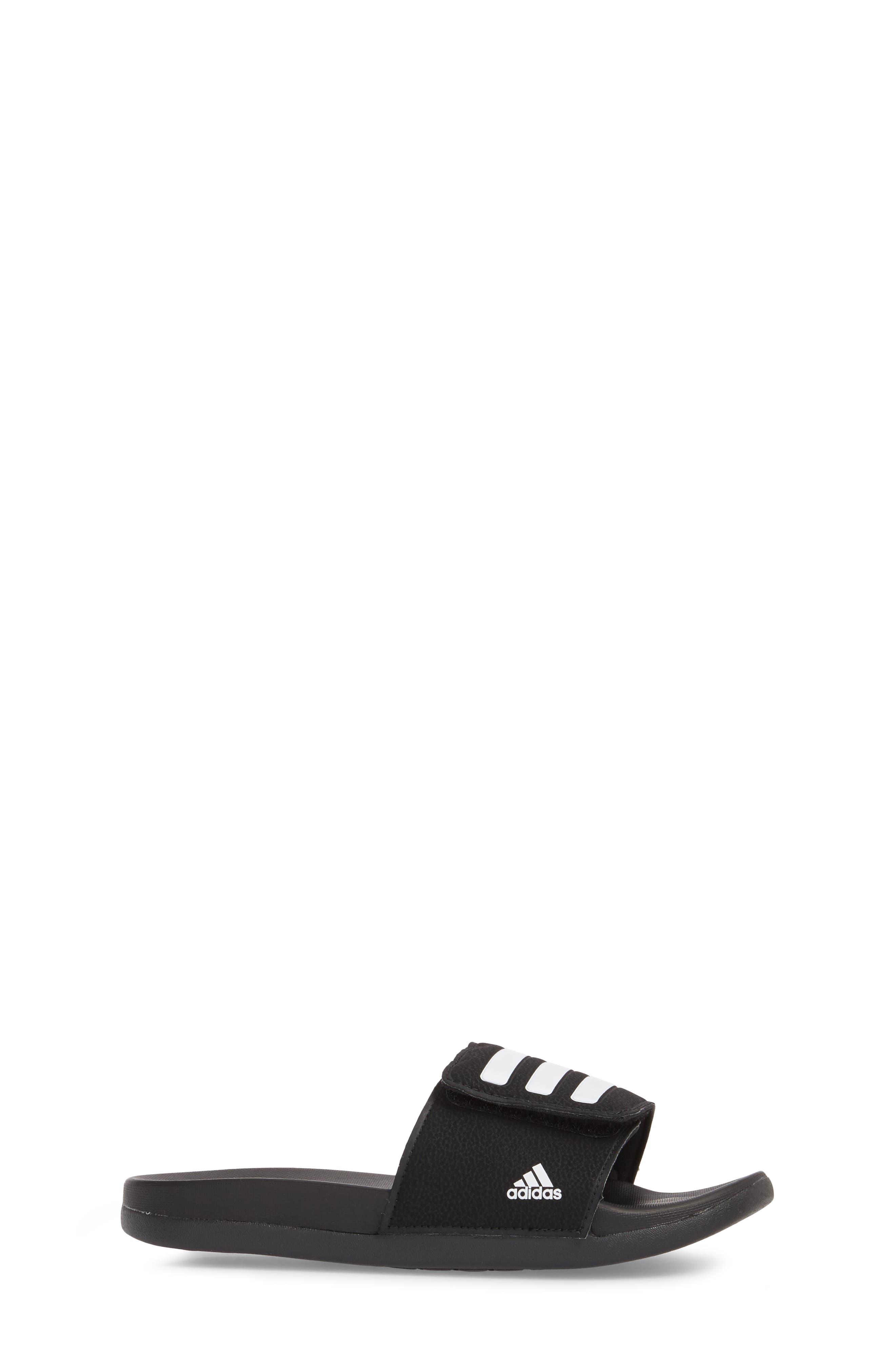 Adilette Slide Sandal,                             Alternate thumbnail 3, color,                             BLACK/ WHITE