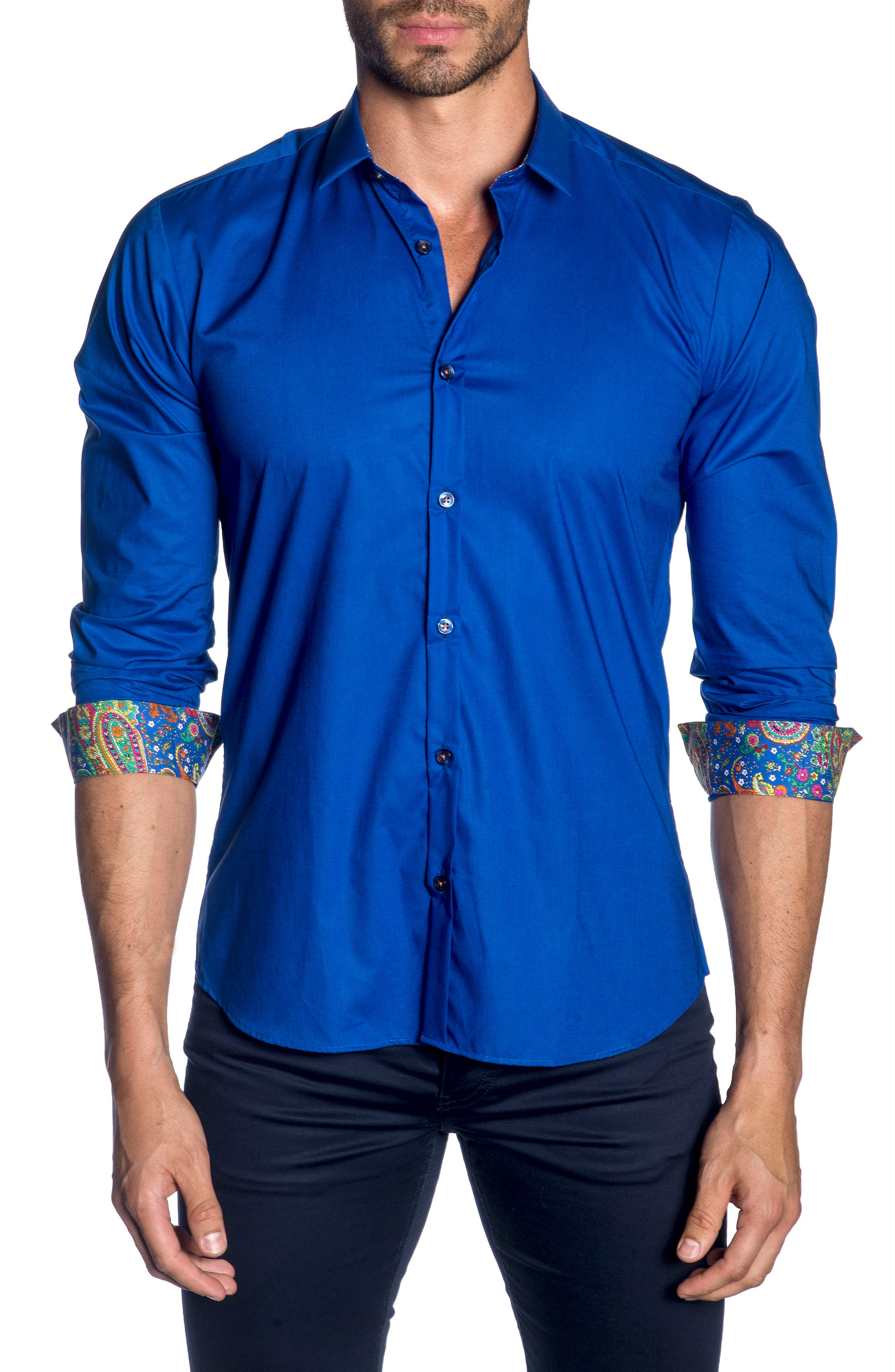 Trim Fit Sport Shirt,                         Main,                         color, BLUE