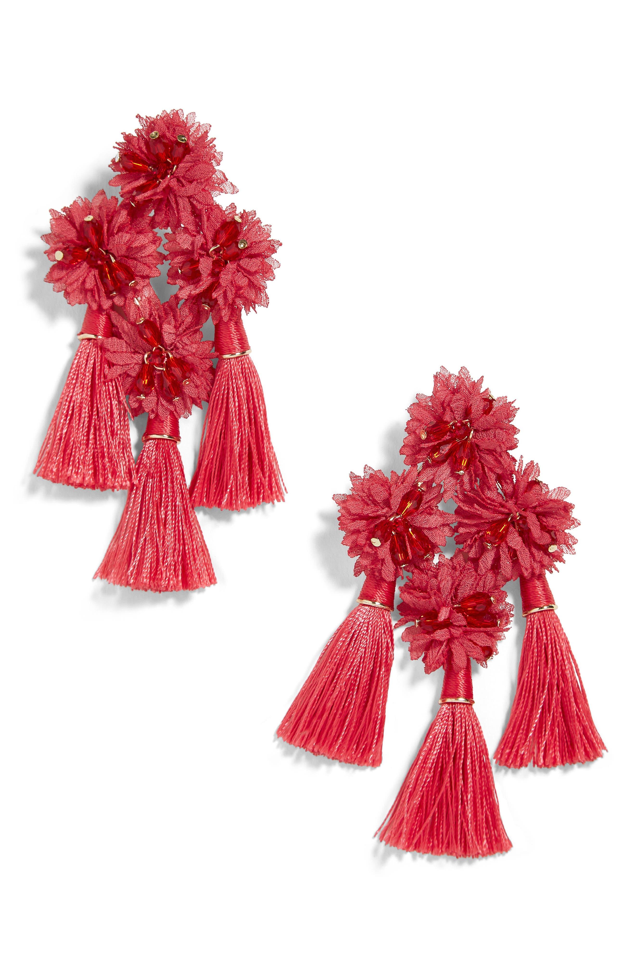 Verenice Tassel Earings,                         Main,                         color, RED