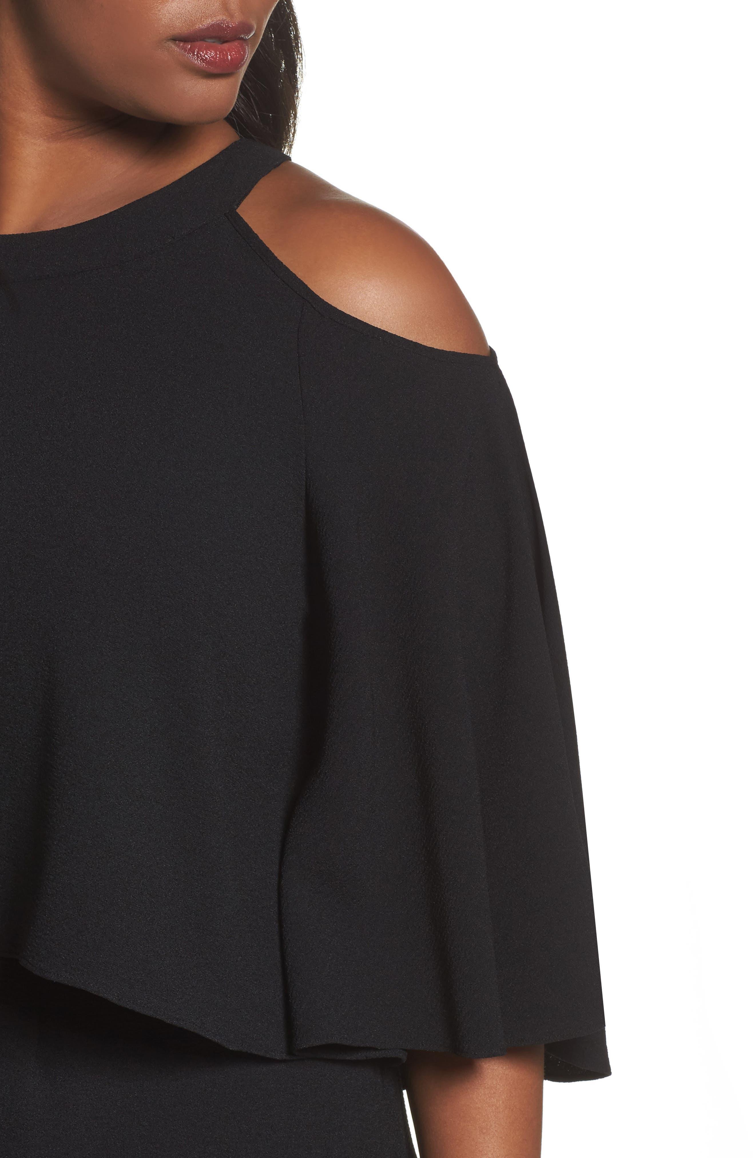 Cold Shoulder Crepe Sheath Dress,                             Alternate thumbnail 7, color,
