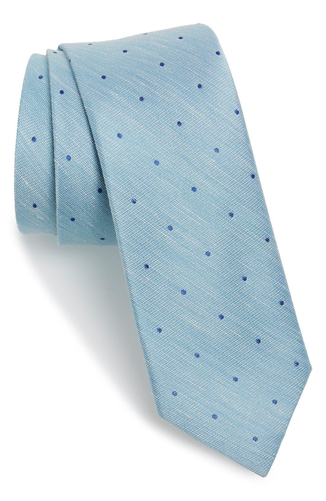 Dot Silk & Linen Tie,                             Main thumbnail 2, color,