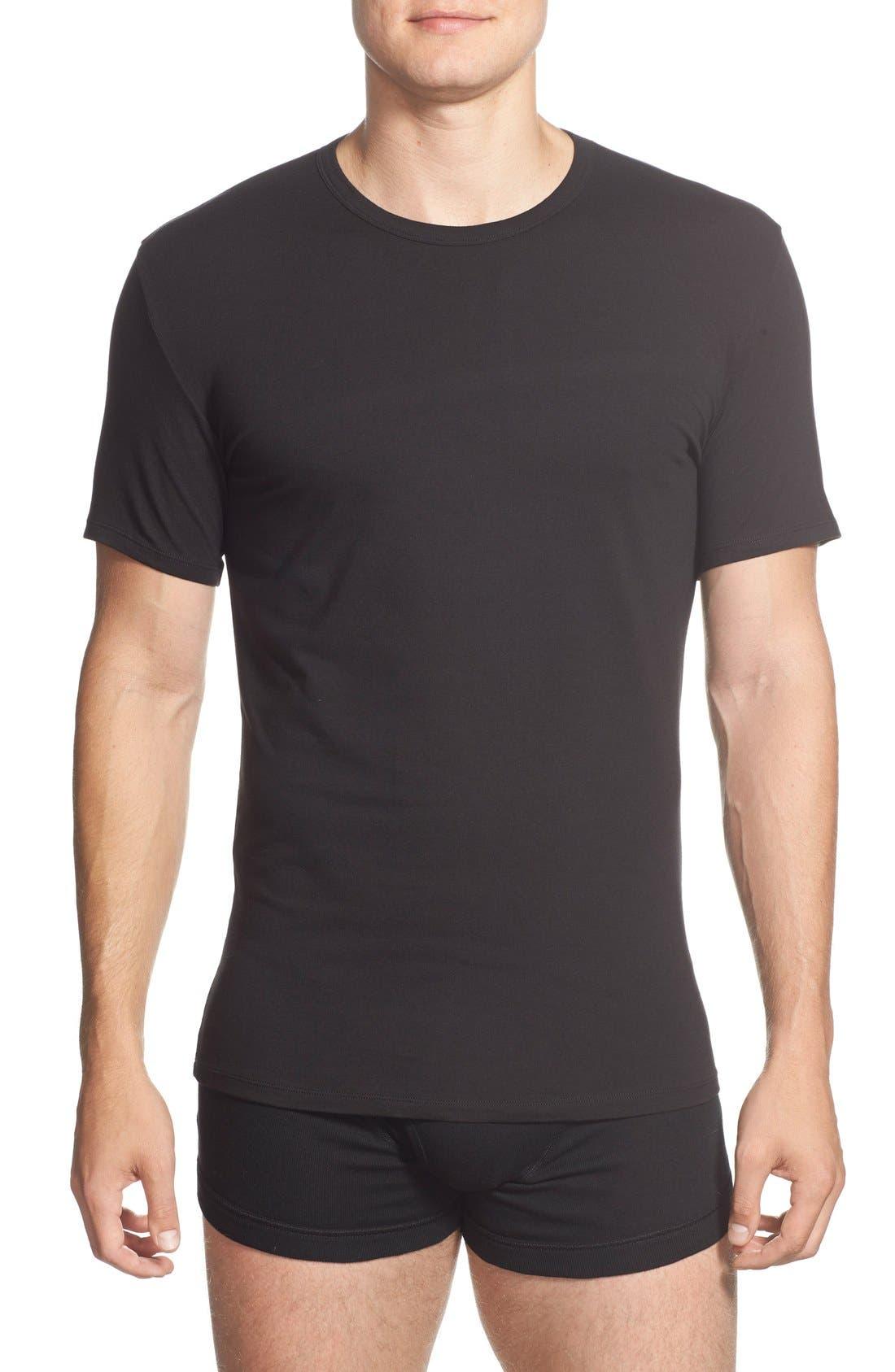 2-Pack Stretch Cotton Crewneck T-Shirt,                             Main thumbnail 1, color,                             BLACK