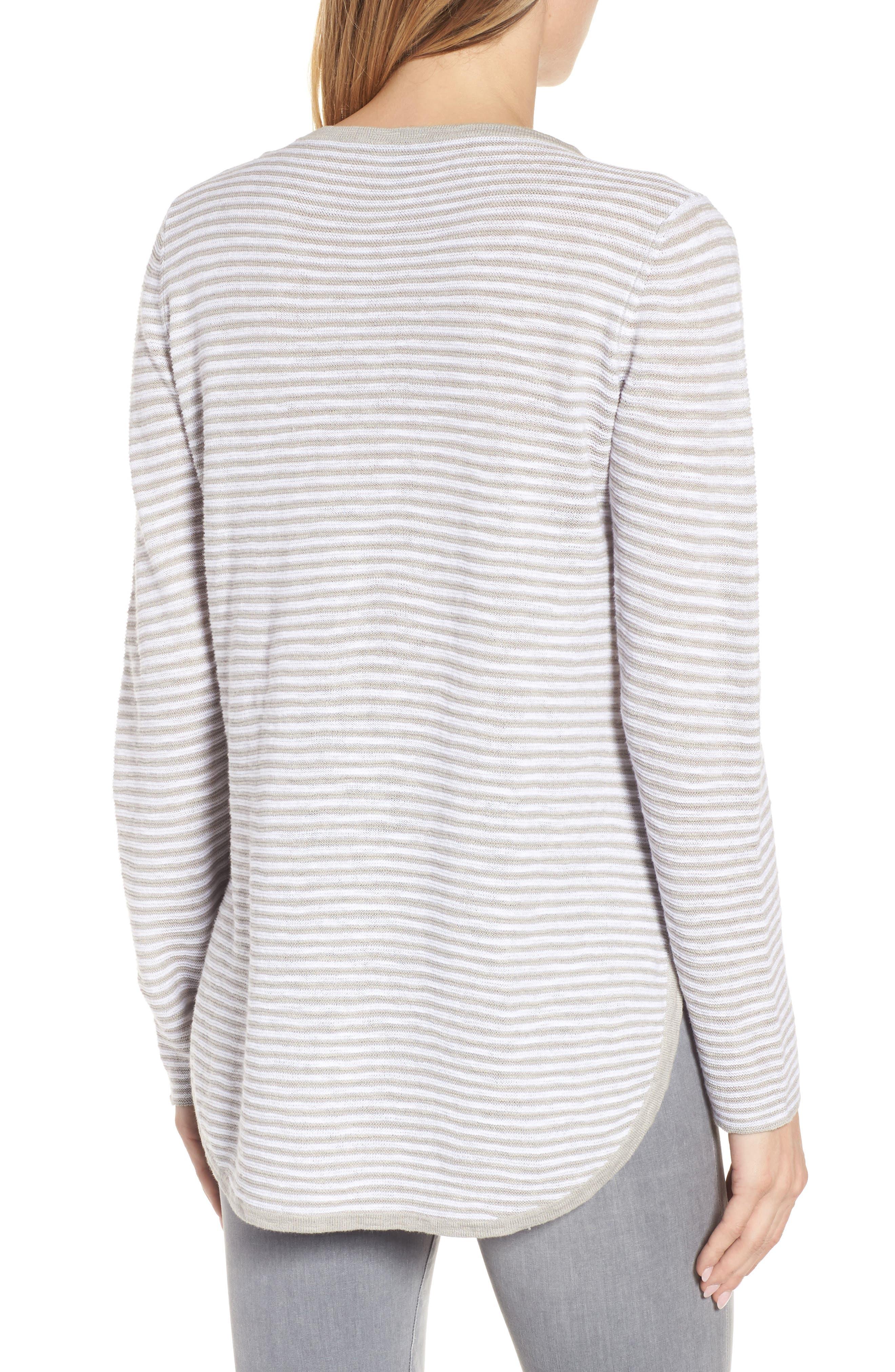 Stripe Organic Linen & Cotton Sweater,                             Alternate thumbnail 2, color,                             192