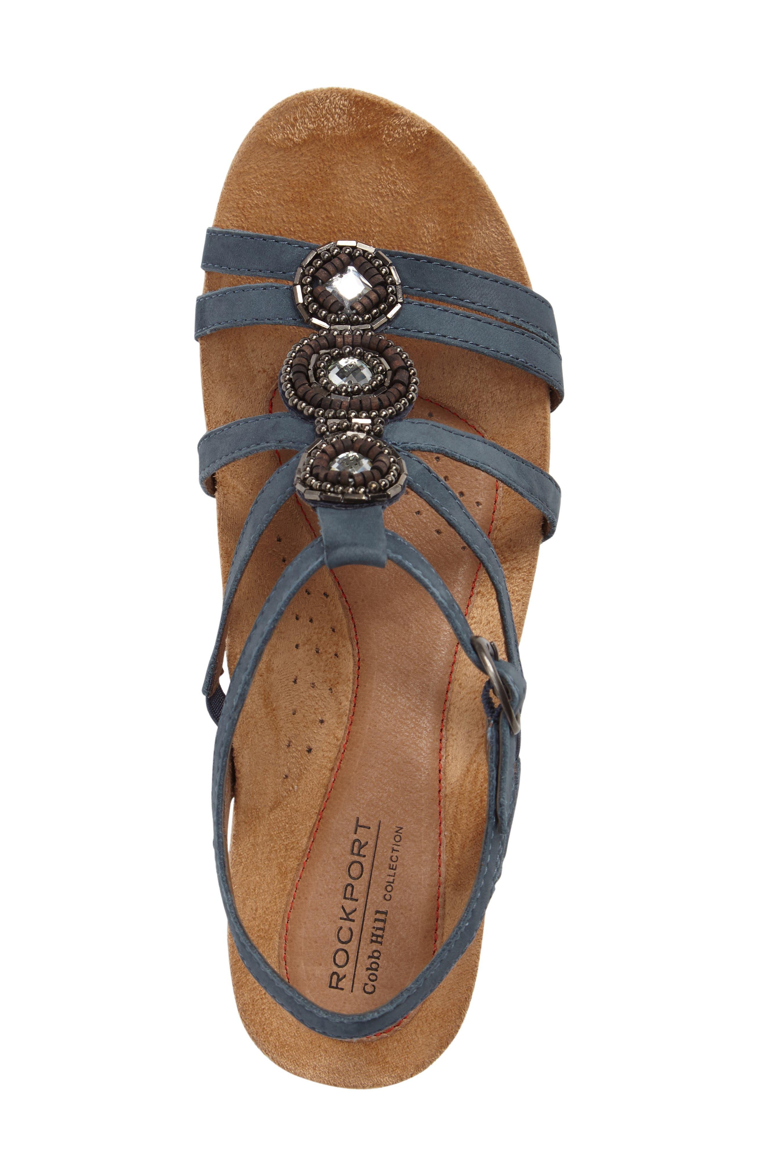 'Hannah' Leather Sandal,                             Alternate thumbnail 5, color,                             BLUE NUBUCK