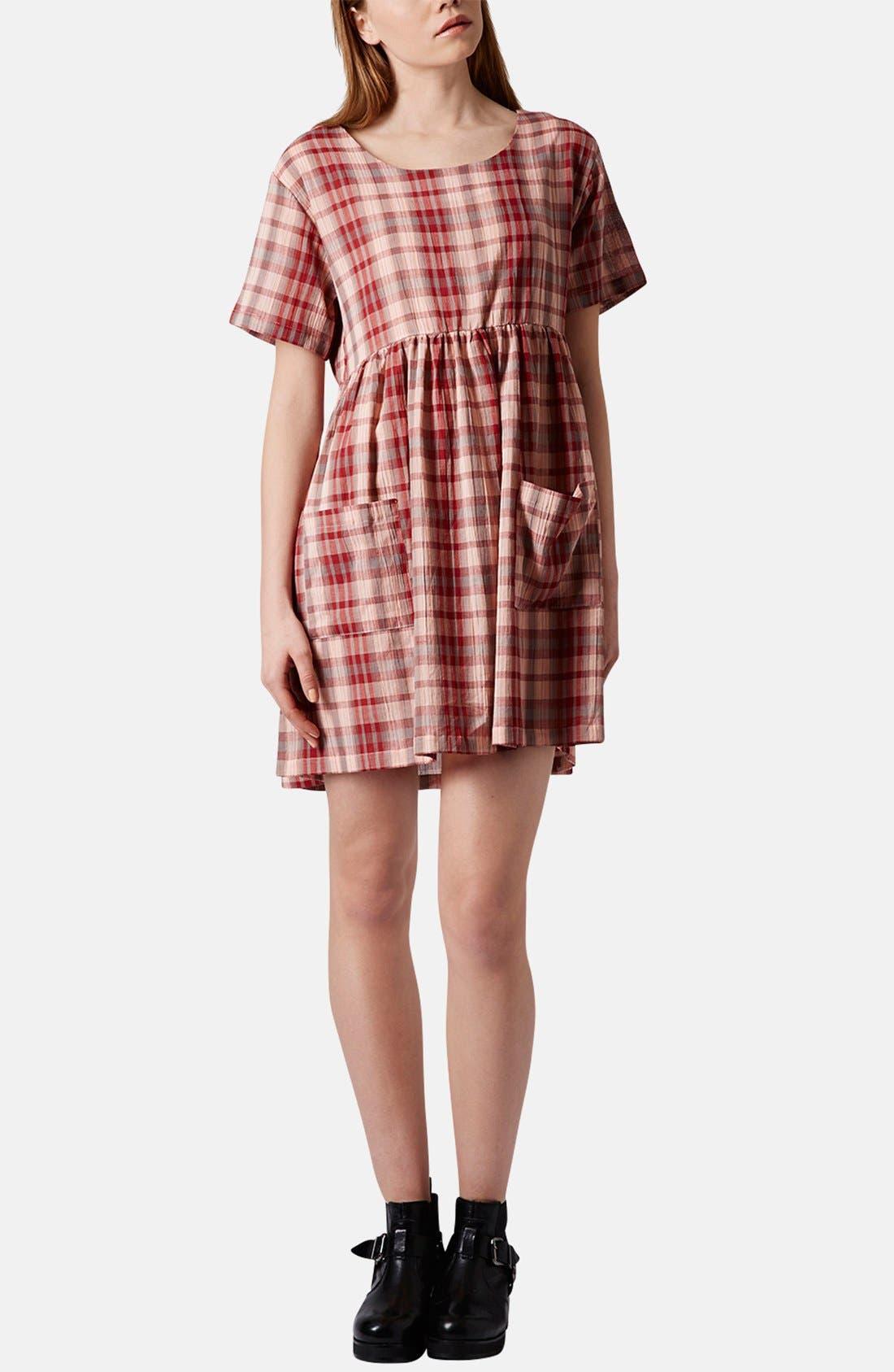 Plaid Cotton Smock Dress,                             Alternate thumbnail 2, color,                             600