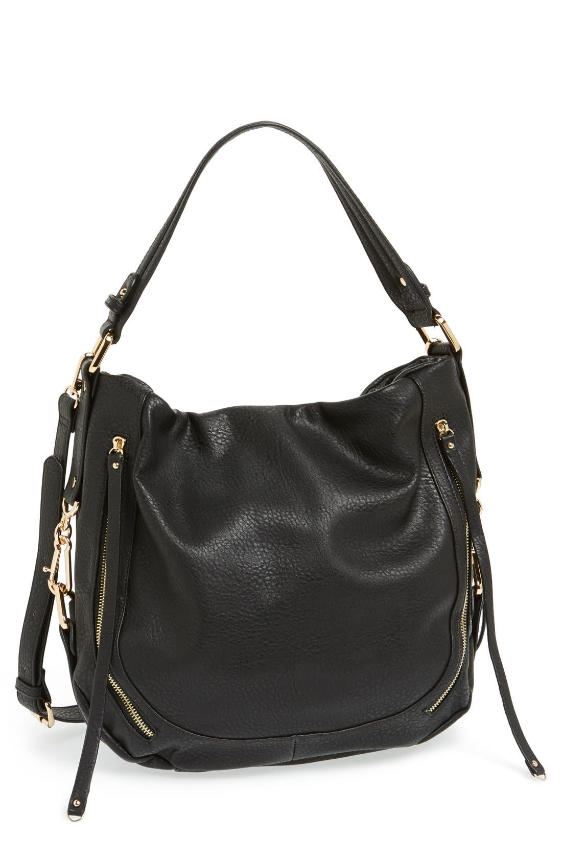 'Amerie' Faux Leather Zip Hobo,                             Main thumbnail 1, color,                             001