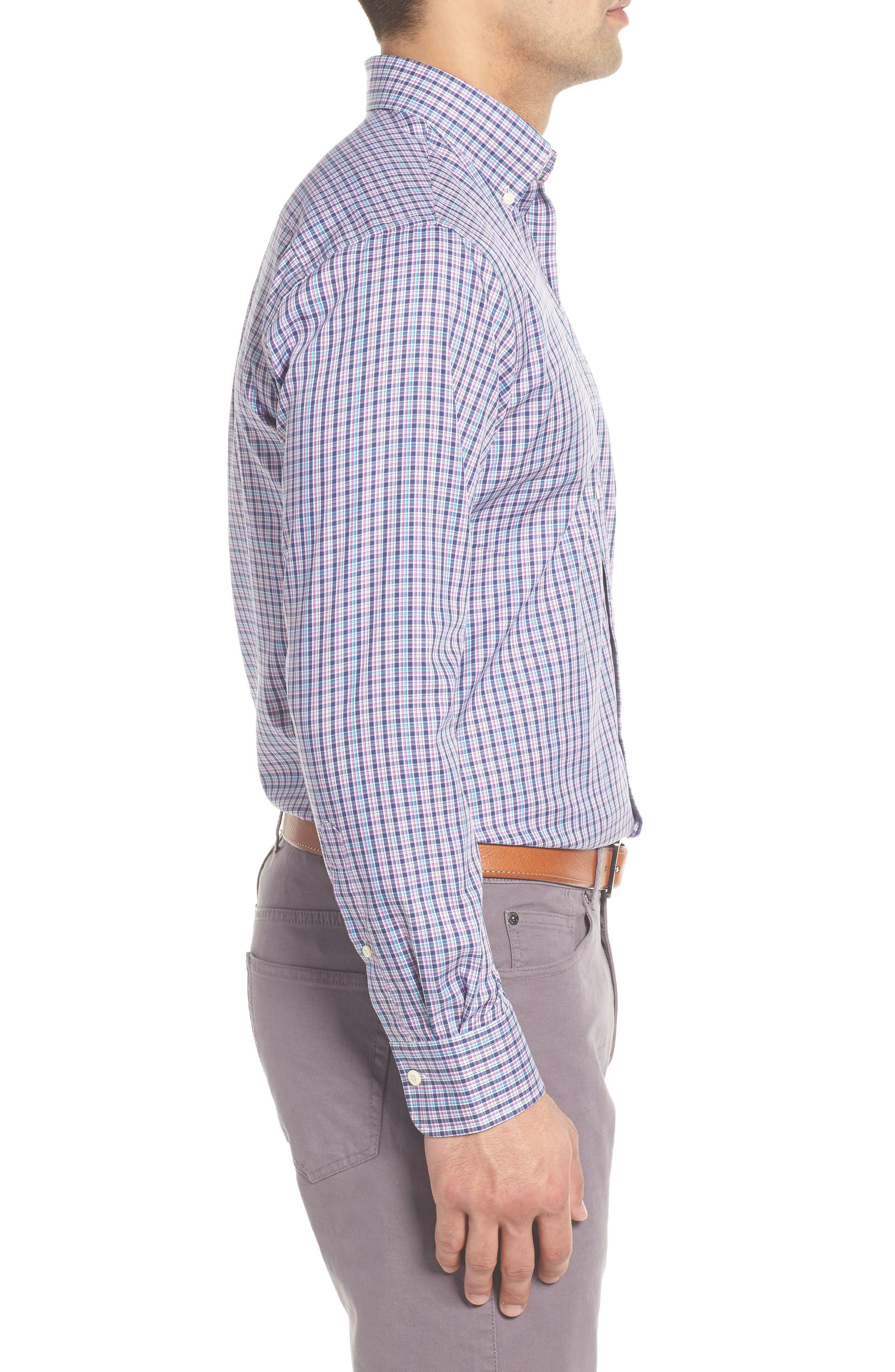 PETER MILLAR,                             Crown Ease Kaci Plaid Sport Shirt,                             Alternate thumbnail 3, color,                             400