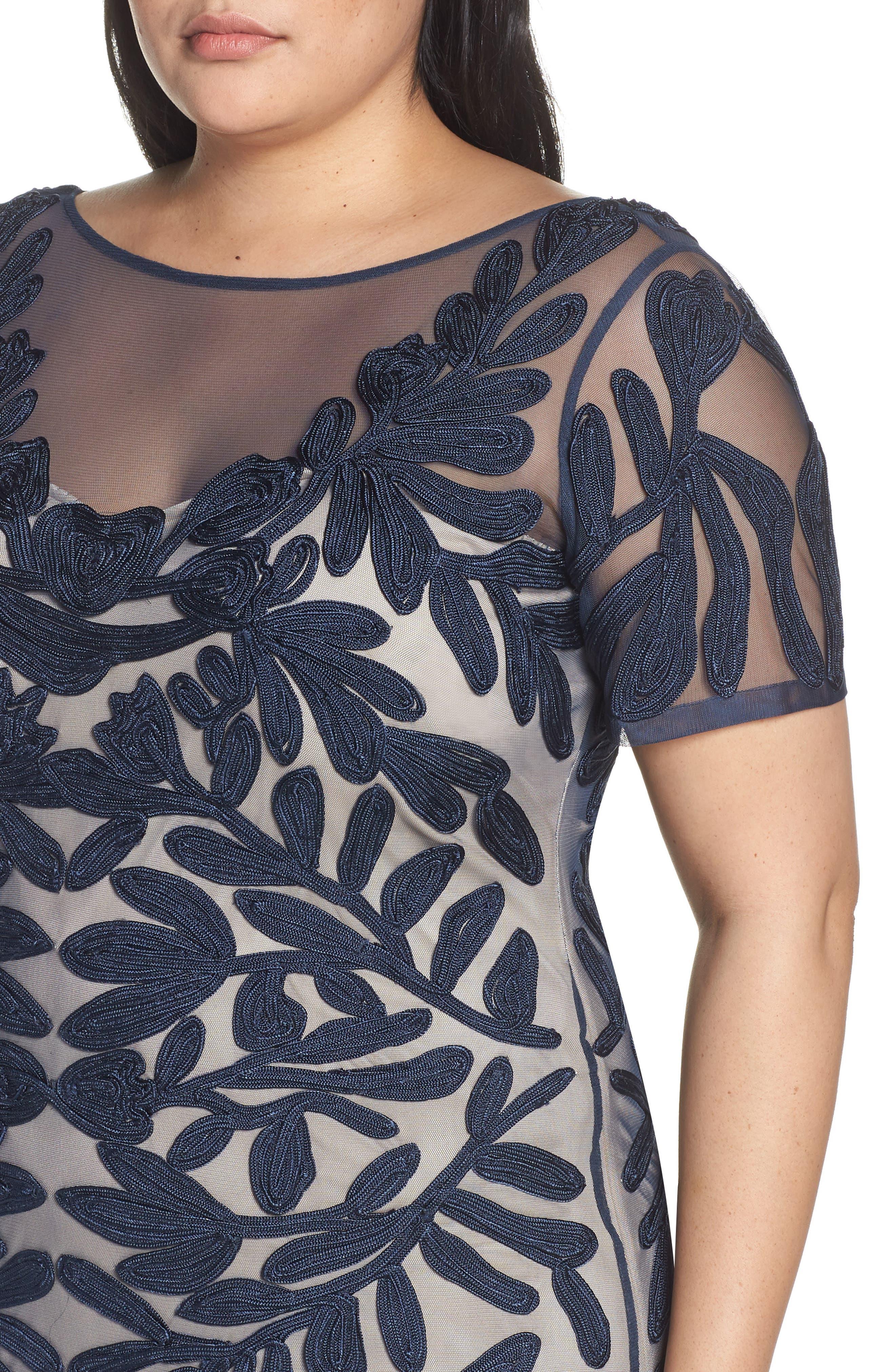 JS COLLECTIONS,                             Illusion Soutache Evening Dress,                             Alternate thumbnail 4, color,                             NAVY/ NUDE