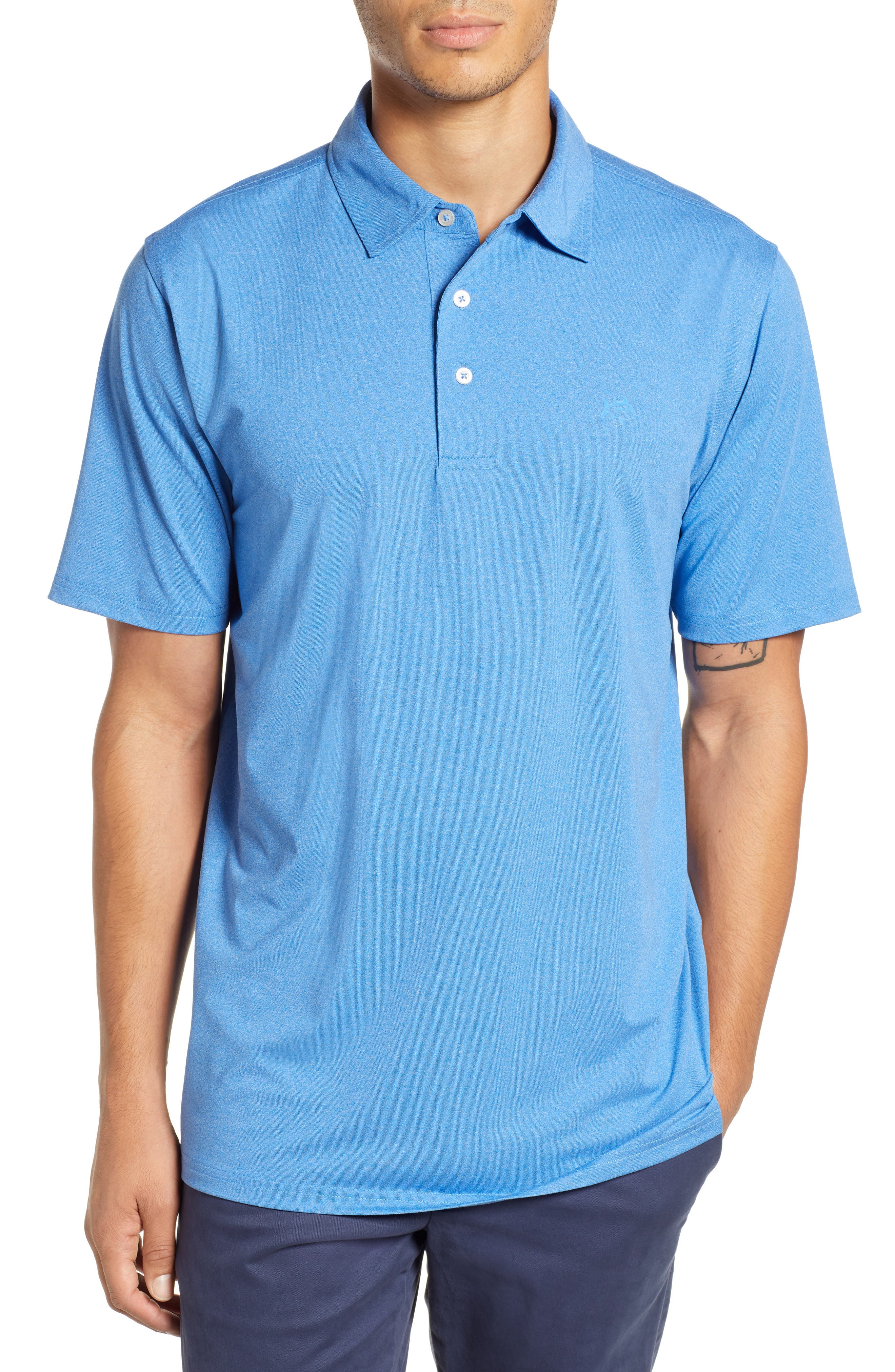 SOUTHERN TIDE Driver Performance Jersey Polo in Heather Blue