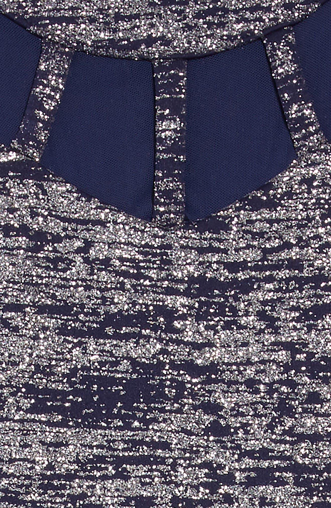 Glitter Illusion Neck Scuba Dress,                             Alternate thumbnail 3, color,                             NAVY/ SILVER