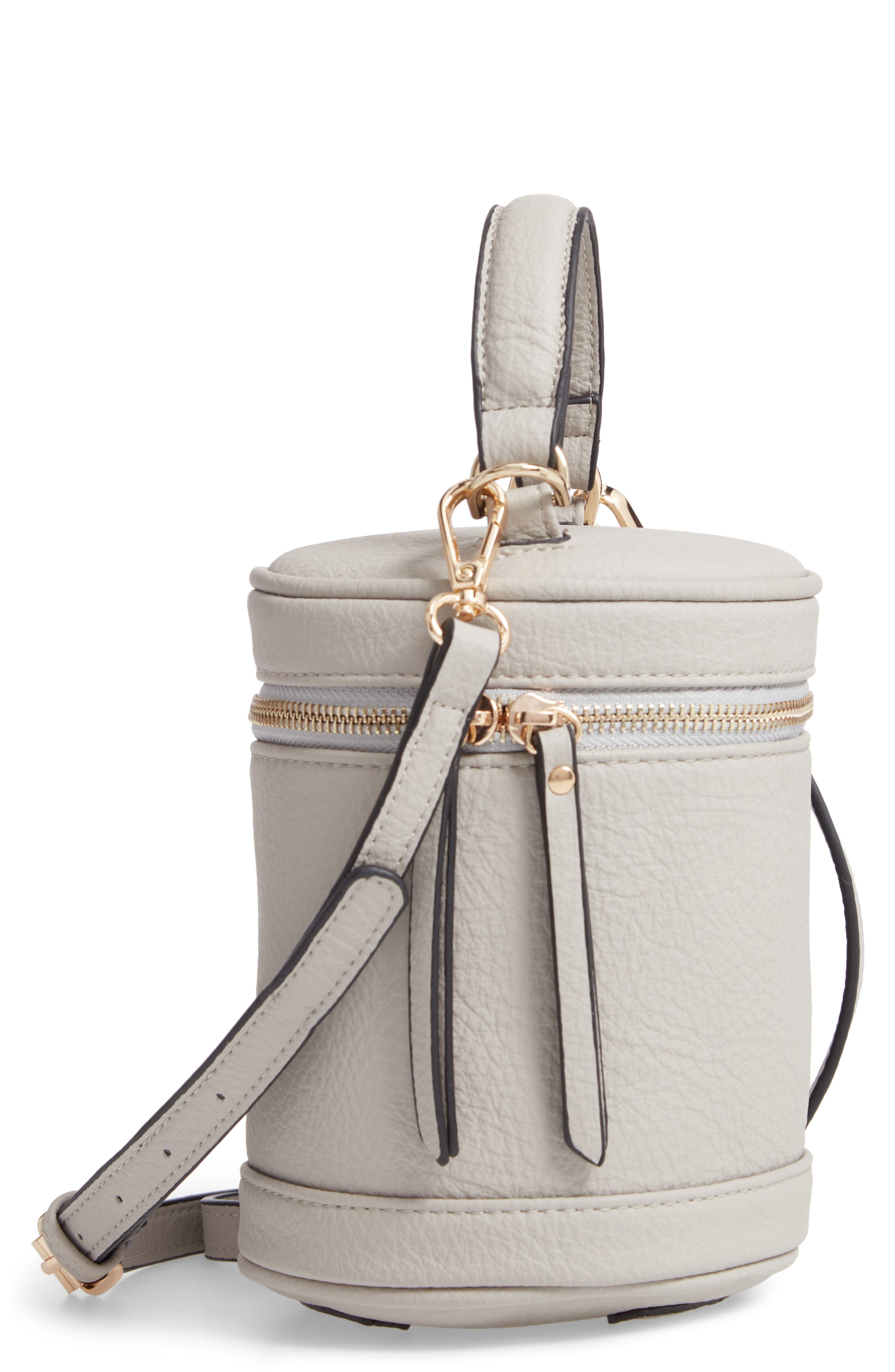Small Faux Leather Top Handle Cylinder Bag,                         Main,                         color, GREY