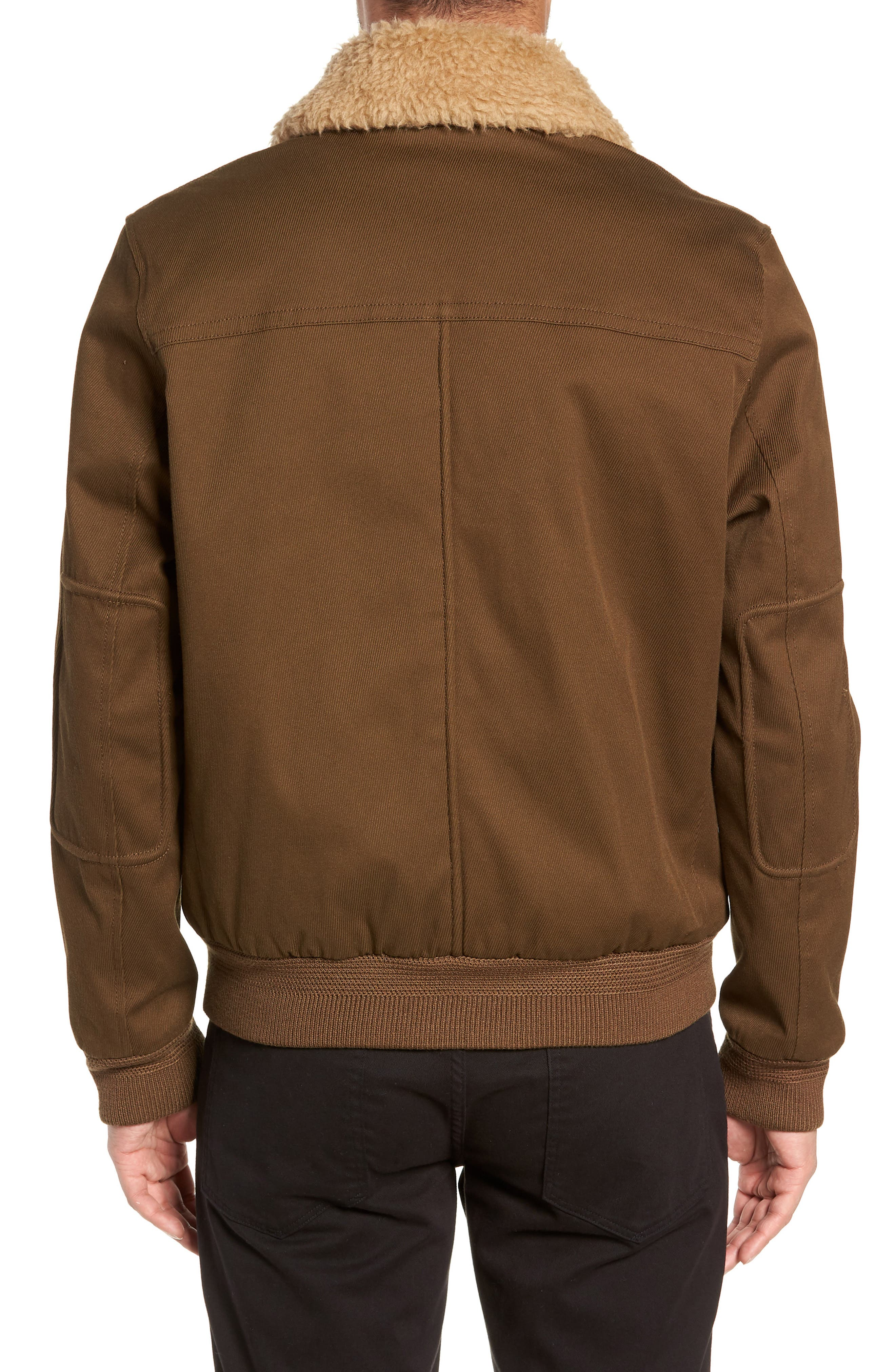 Regular Fit Bomber Jacket with Faux Shearling Collar,                             Alternate thumbnail 2, color,                             INFANTRY GREEN