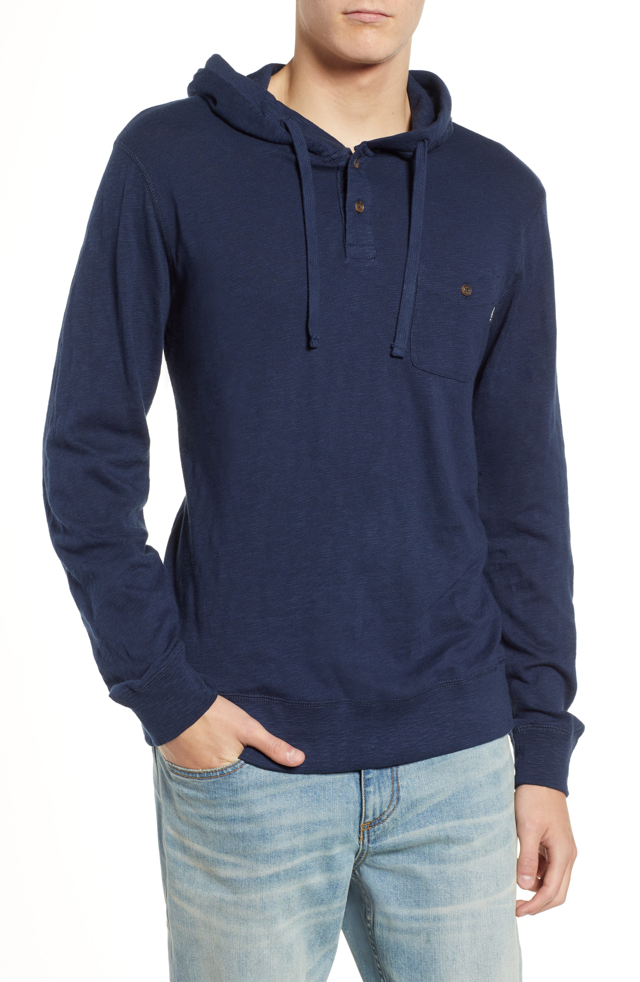 Stinson Hooded Long Sleeve Henley,                         Main,                         color, NAVY