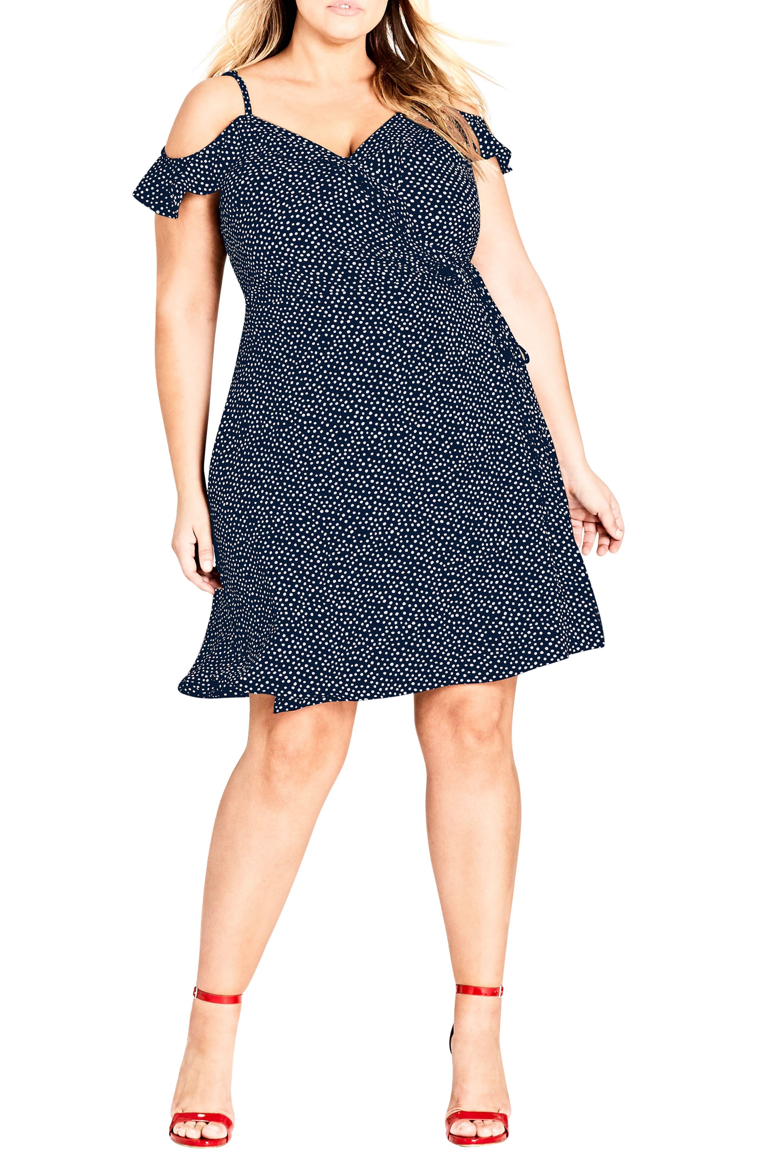 Spot Cold Shoulder Wrap Dress,                             Main thumbnail 1, color,                             NAVY SPOT