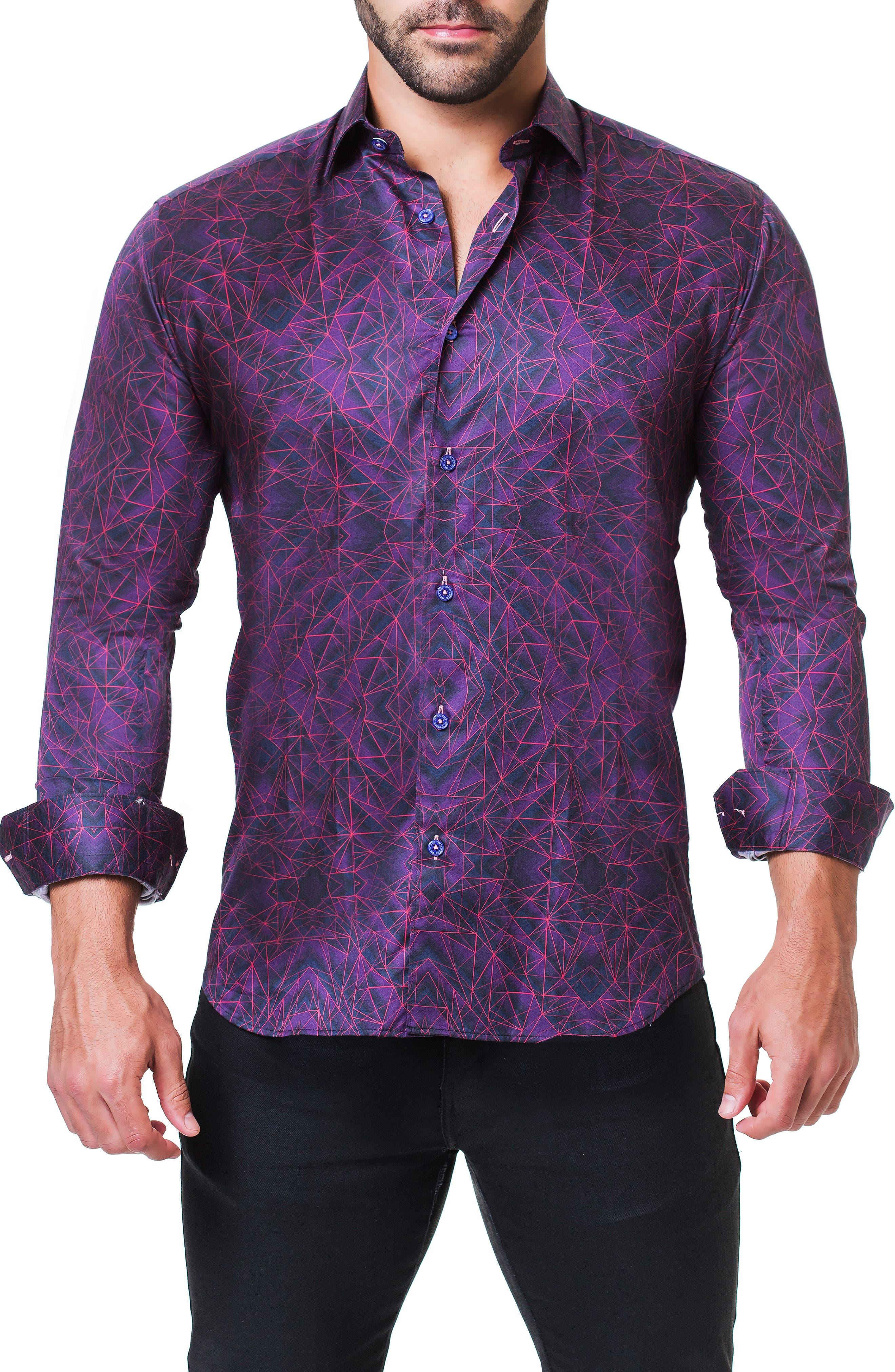 Fibonacci Tunnel Print Sport Shirt,                             Alternate thumbnail 3, color,                             PURPLE
