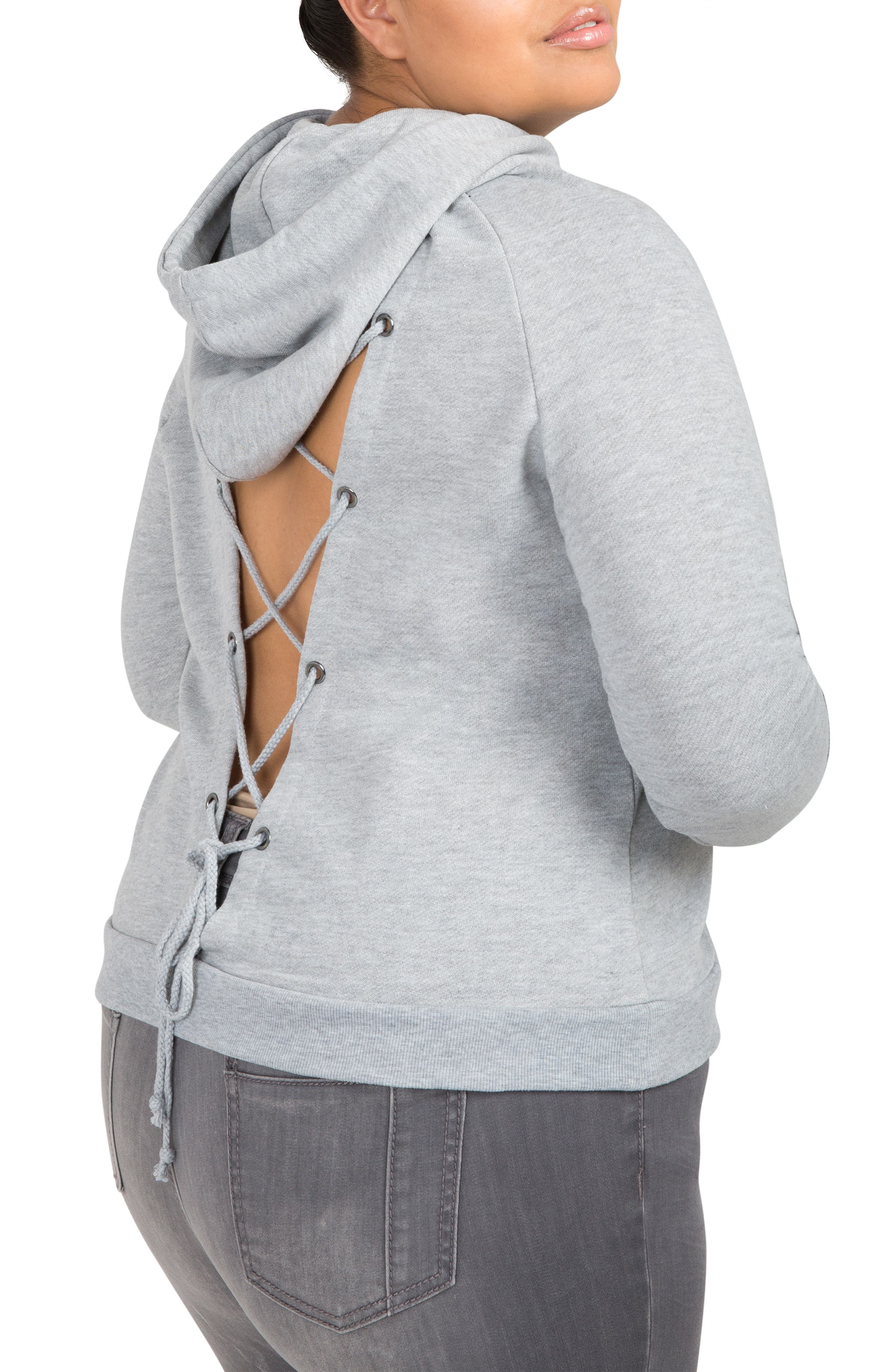 Back Cutout Hooded Sweatshirt,                             Alternate thumbnail 3, color,                             GREY