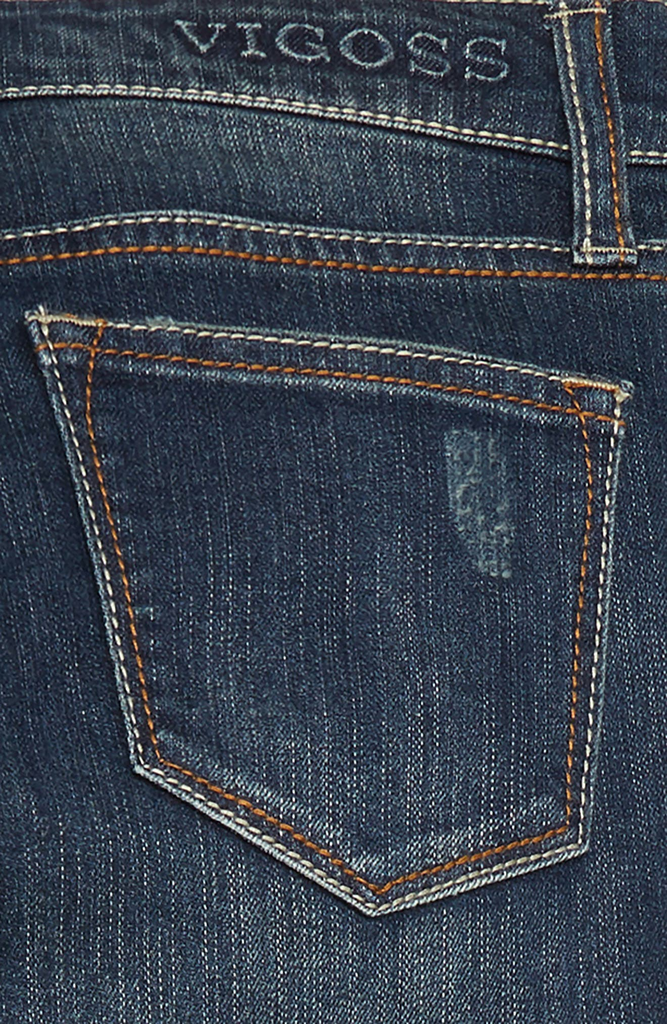 Embroidered Cuff Jeans,                             Alternate thumbnail 3, color,                             DARK MIDNIGHT/ DMN